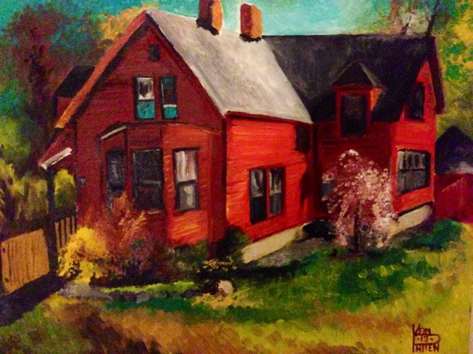 """""""The Red House"""" 16"""" x 20"""" Oil on Canvas (2014)"""