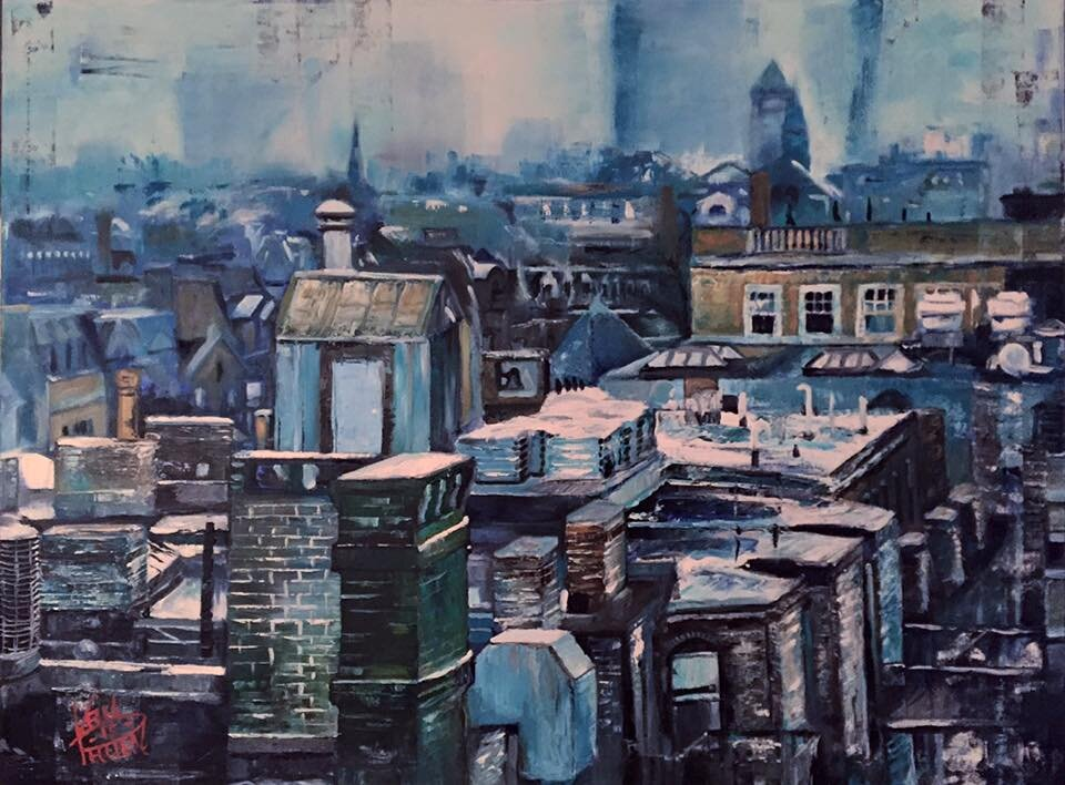 """""""Boston Roof Tops"""" 36"""" x 48"""" Oil on Canvas (2015)"""