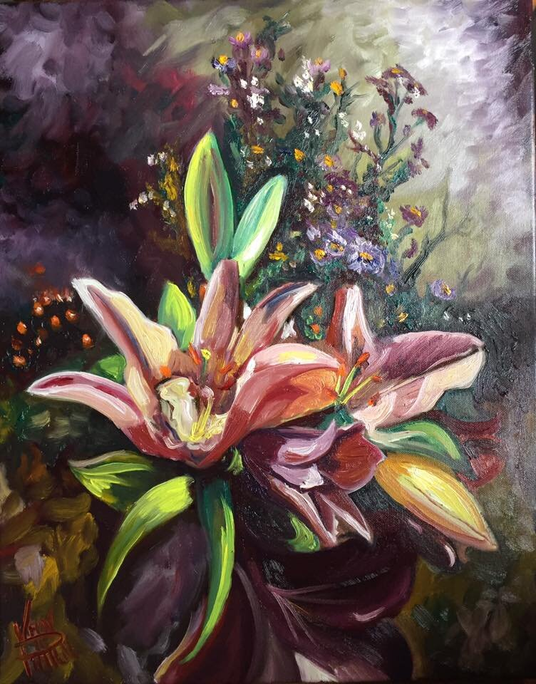 """""""Orchids"""" 16"""" x 20"""" Oil on Canvas (2016)"""