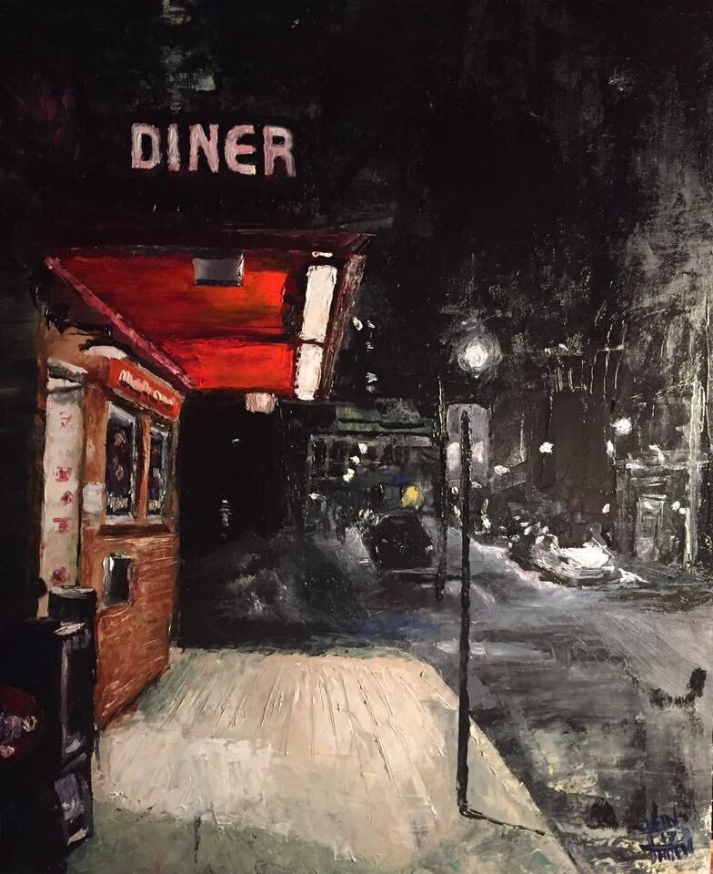 """""""Red Arrow Diner"""" 16"""" x 20"""" Oil on Panel (2017)"""