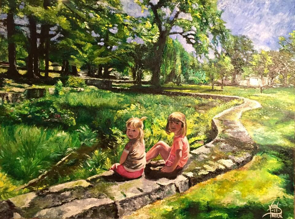 """""""Sisters in The Park 24"""" x 30"""" Oil on Canvas"""