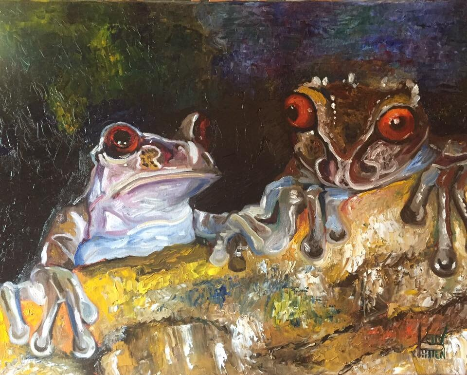 """""""Two Frogs"""" 16"""" X 20"""" Oil on Canvas (2018)"""