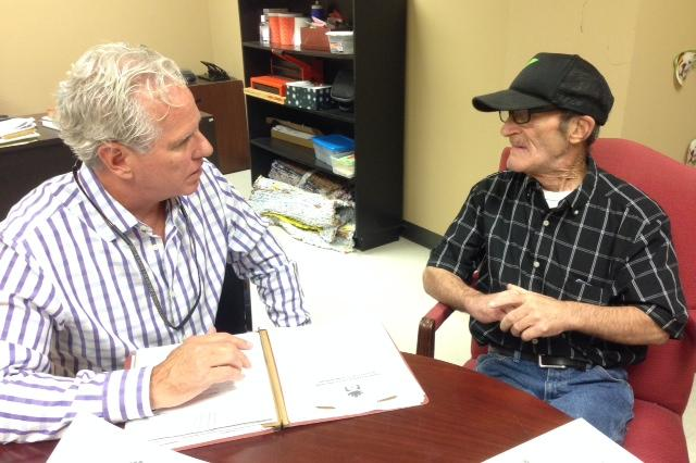 Kurt and Donald at their weekly meeting at the Stewpot.  COURTNEY COLLINS KERA NEWS