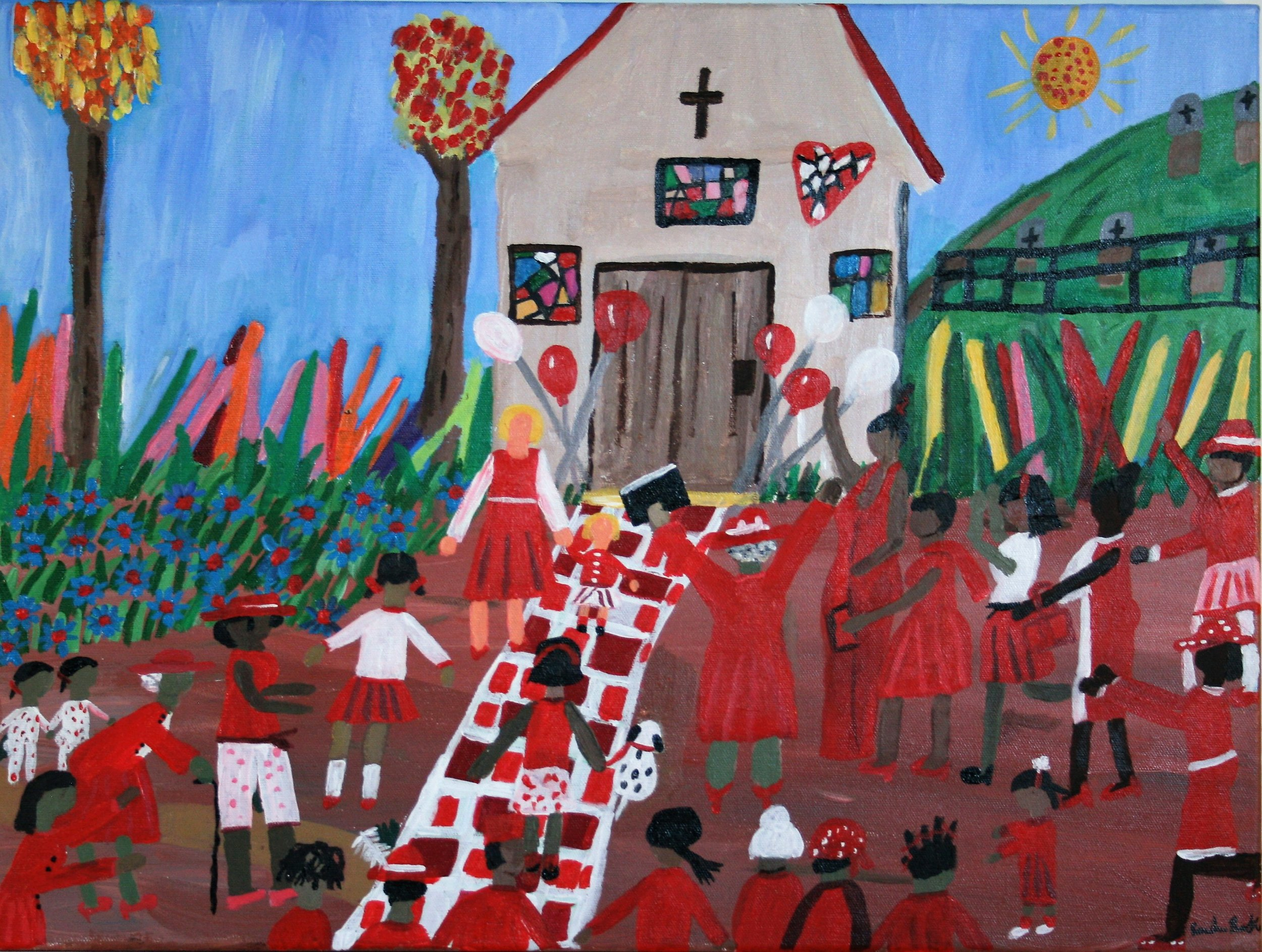 "Cornelious Brackens, Jr. ""The Ladies in Red Day"" 18 x 24, $295"