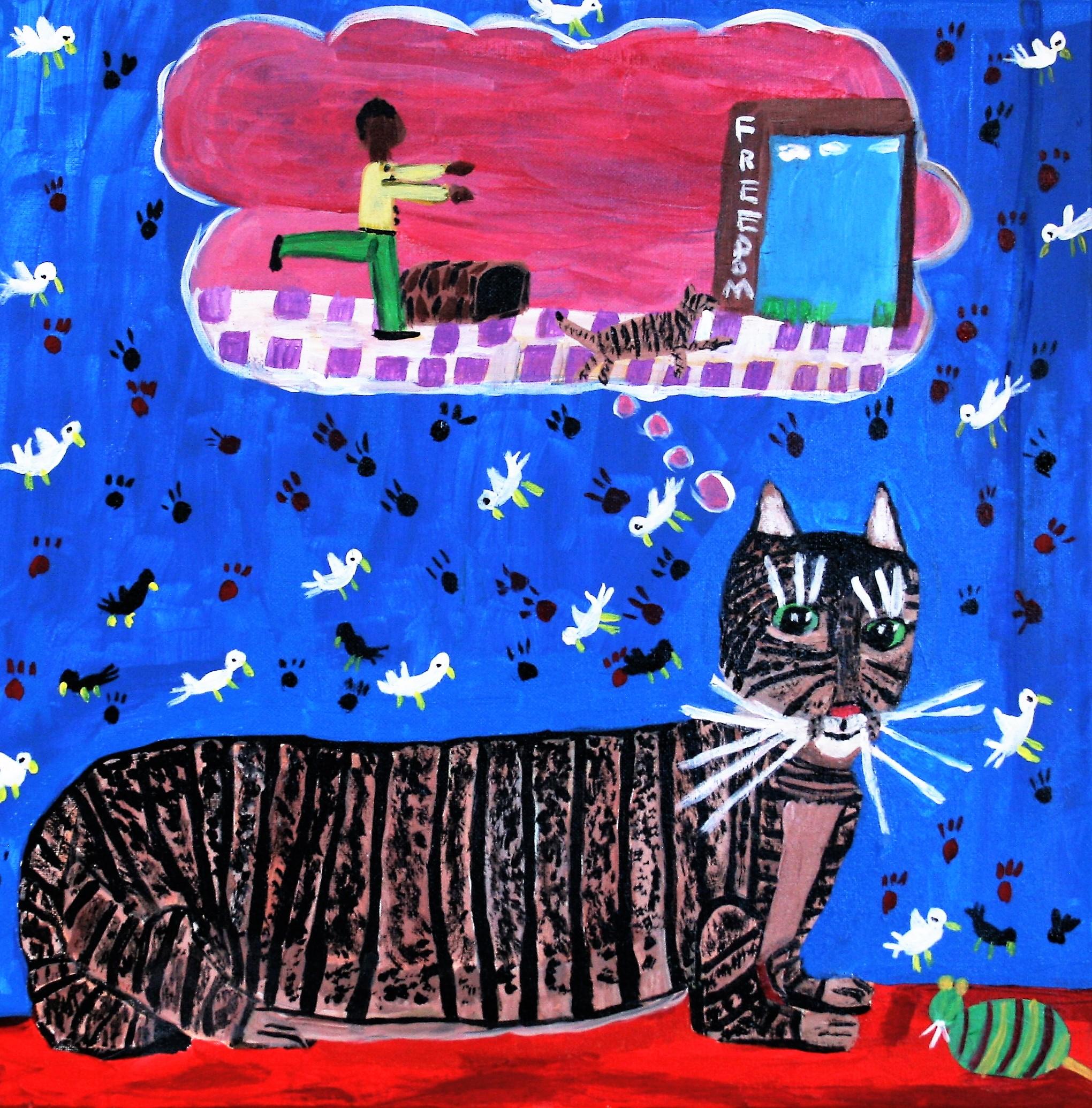"""Cornelious Brackens, Jr. """"Miss Lucy Dreams of Freedom"""" 20 x 20 $275"""