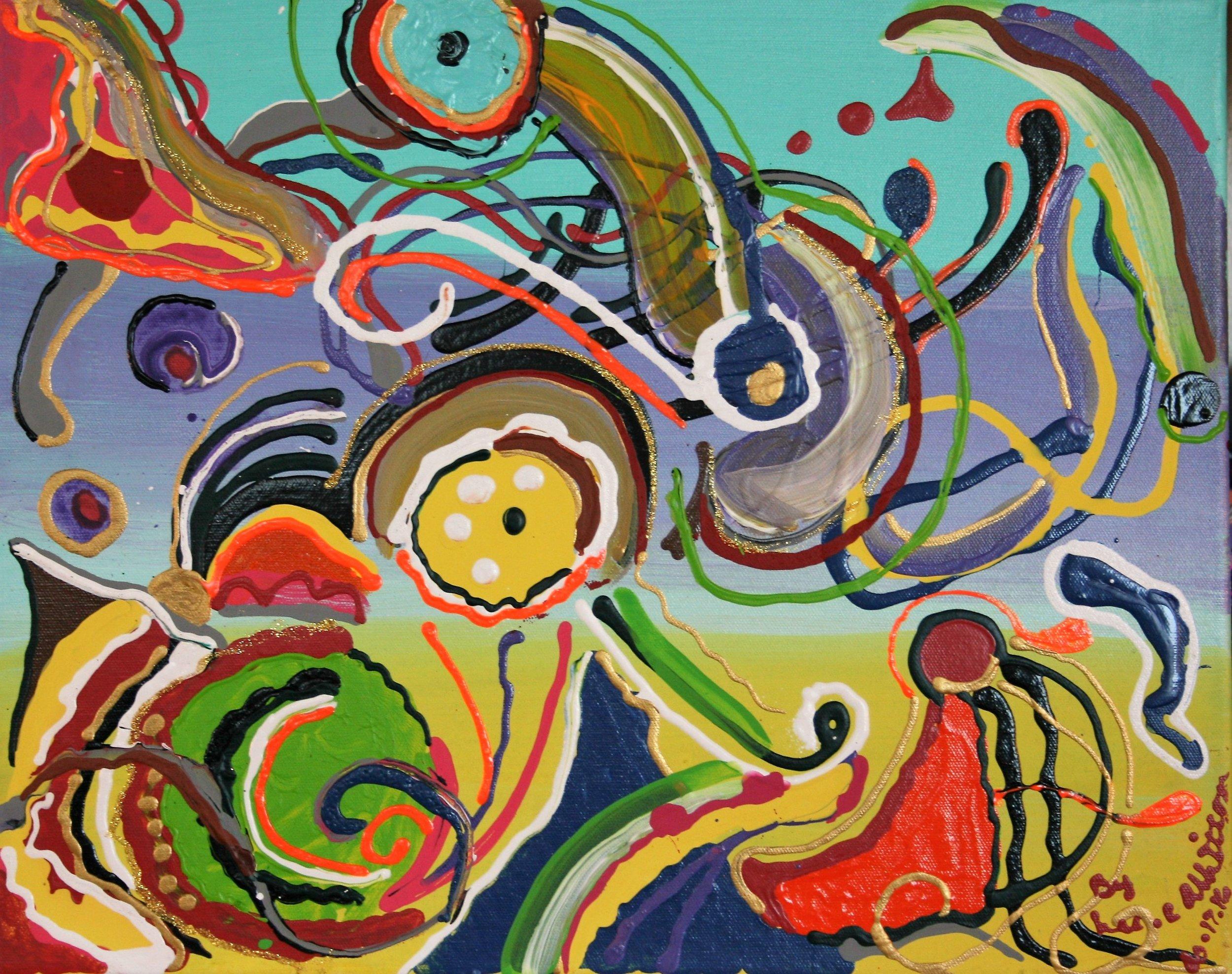 "Lee C. Albritton, ""Aqua, Purple Yellow"" 16 x 20, $95"