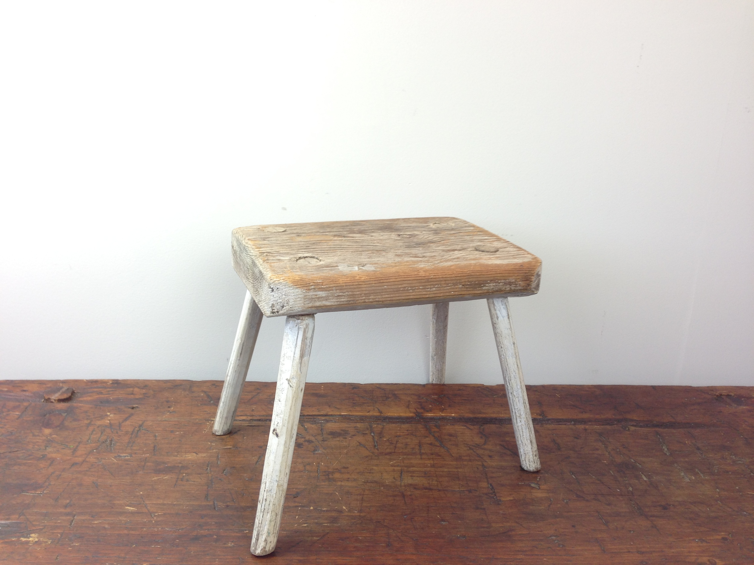 Simple, White-washed Dowel-Leg Stool