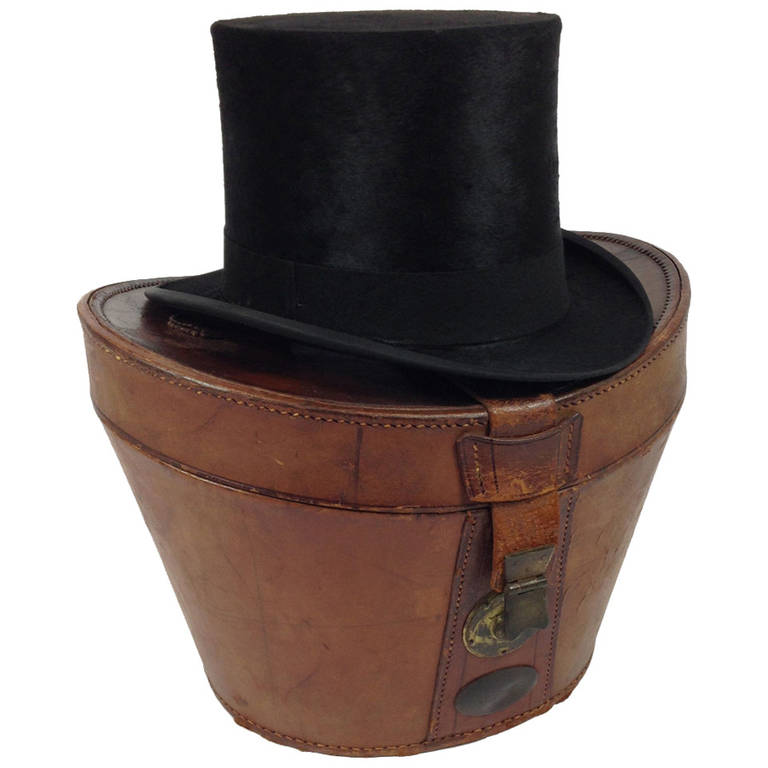 Beaver Skin Top Hat with Leather Box