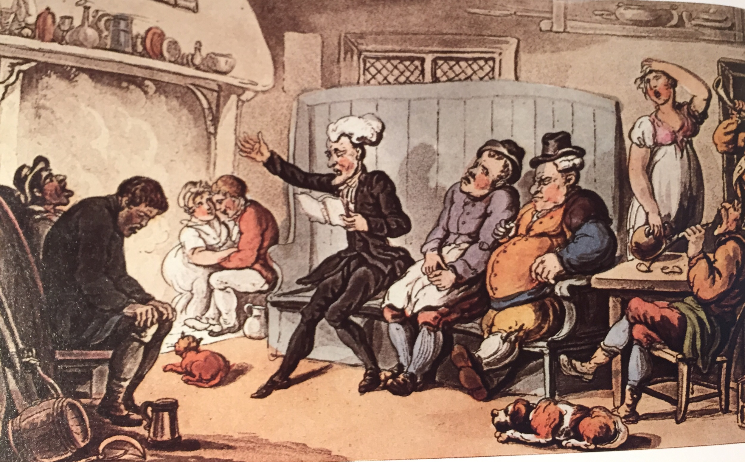 Dr. Syntax Reading his Tour in the Kitchen of the Dun Cow,   aquatint by T. Rowlandson (1817)