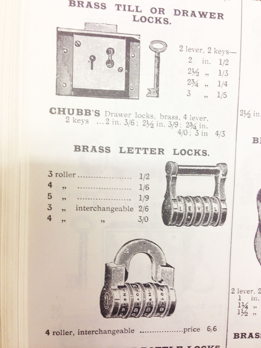 Advertisement for Combination locks from 1907
