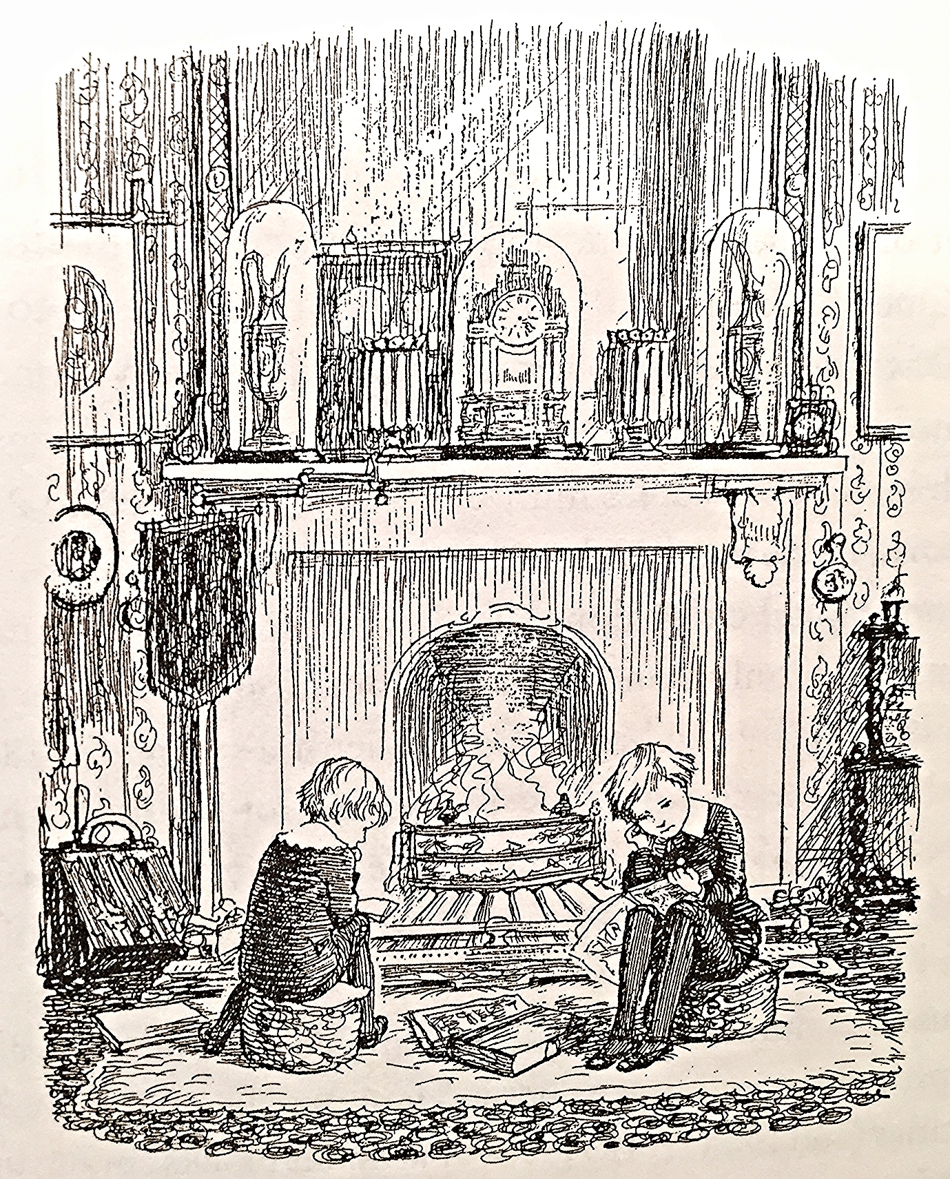 E.H. Shepard, illustrator of  Winne the Pooh,  captured a scene of his childhood by the hearth.