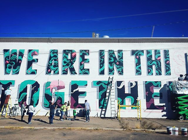 We're proud to be working on this project with @brandedarts for a Kaiser Permanente messaging program about opening up the conversation of depression and other mental illness. -WE ARE IN THIS TOGETHER- This mural is only half finished. I'll post a shot of the final!