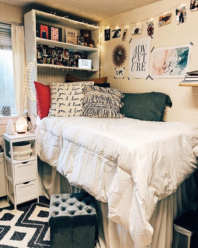 Dorm room - 🐘 ⠀ Pinterest and You tube are your best friends when planning for a tiny dorm room space! We found measurements and tips for space saving everywhere we looked and I'm here to tell ya, it saved us! We had room to spare after we finished putting it all away! ⠀ ⠀ Emma knew what she wanted her room to look like, so we just had to find the pieces. The headboard was from a previous Tutwiler resident, but everything else was collected from flea markets in France to Hobby Lobby! ⠀ ⠀ Using postcards, cork board squares, twinkly lights and washi tape added color and texture for next to nothing. Add in a moon for Madison her Madi bear, and pictures of besties, she has comforts from home. ⠀ ⠀ I love how it turned out and can't wait to see how it transforms throughout the year! ⠀ ⠀ #lucysinspired #lucysinspiredsesign#flashesofdelight #beingboss #calledtobecreative #chasinglight #creativepreneur #creativityfound #designisinthedetails #dowhatyoulove #exploretocreate #liveauthentic #lucydigsdesign #thehappynow #southernmakers #moonglowlake #buildanewhousewitholdthings #dominomag #thatsdarling #thejuggleisreal #interiordesign #stylist #tilinsiders #theinstagramlab #thegramgang #sodomino #apartmenttherapy #smallspace #launchpad #dormroom