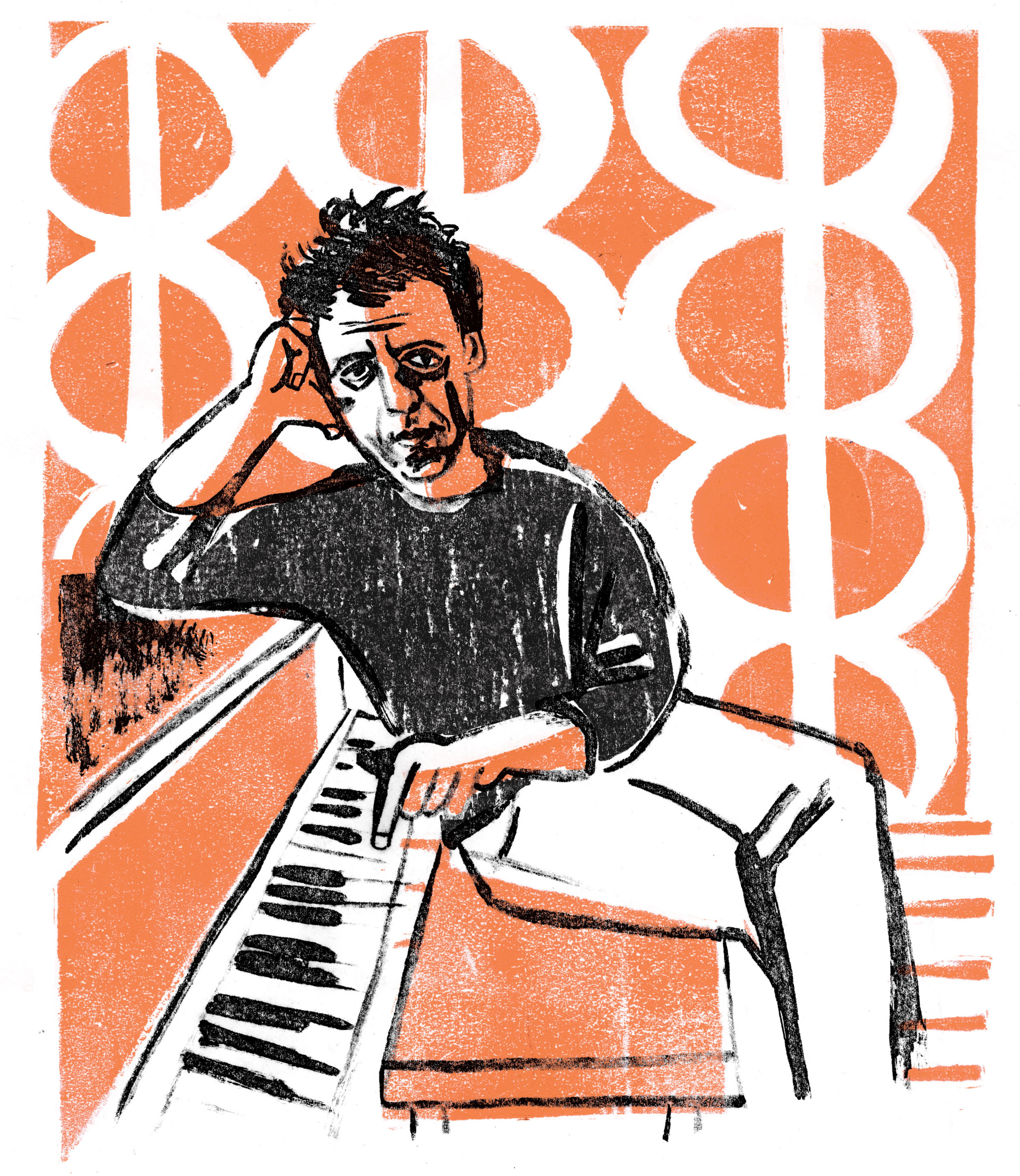 Portrait of Phillip Glass, compose
