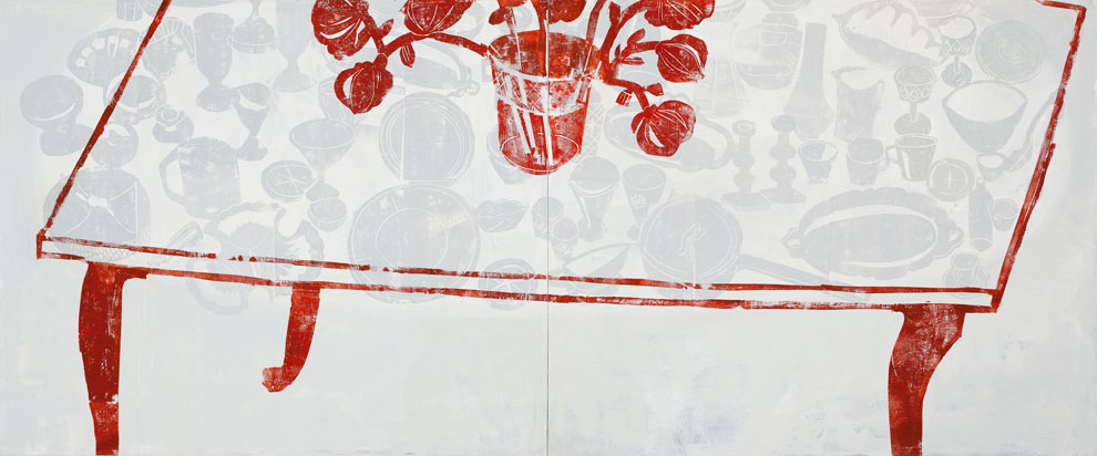 "Nature morte 2, oil on panel, 32"" x 72"", 2014"