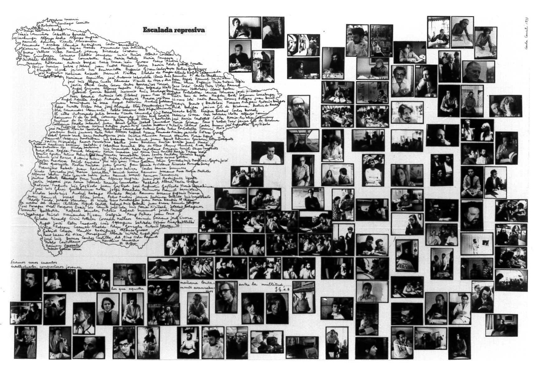 """""""Intellettuali di sinistra nella Spagna Franchista"""". Pannello con nomi e fotografie."""