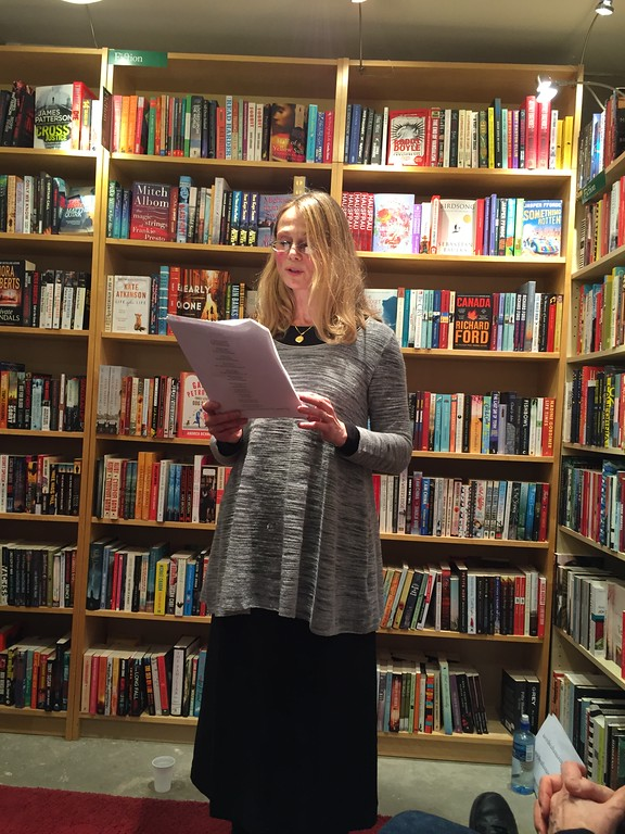 Sara Hendey reads at the English Bookshop in Stockholm