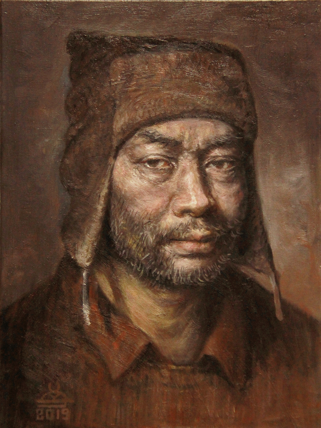 Self-portrait with a hood