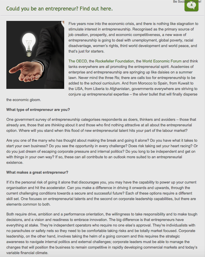 Changeboard_July 2013_could you be an entrepreneur pg 1.png