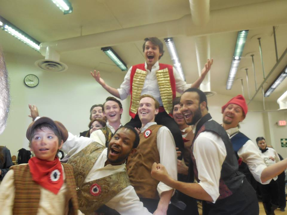Scott as Enjolras and the Barricde Boys backstage at RCP's Les Miserables  Photo by Diane Jackson Schnoor