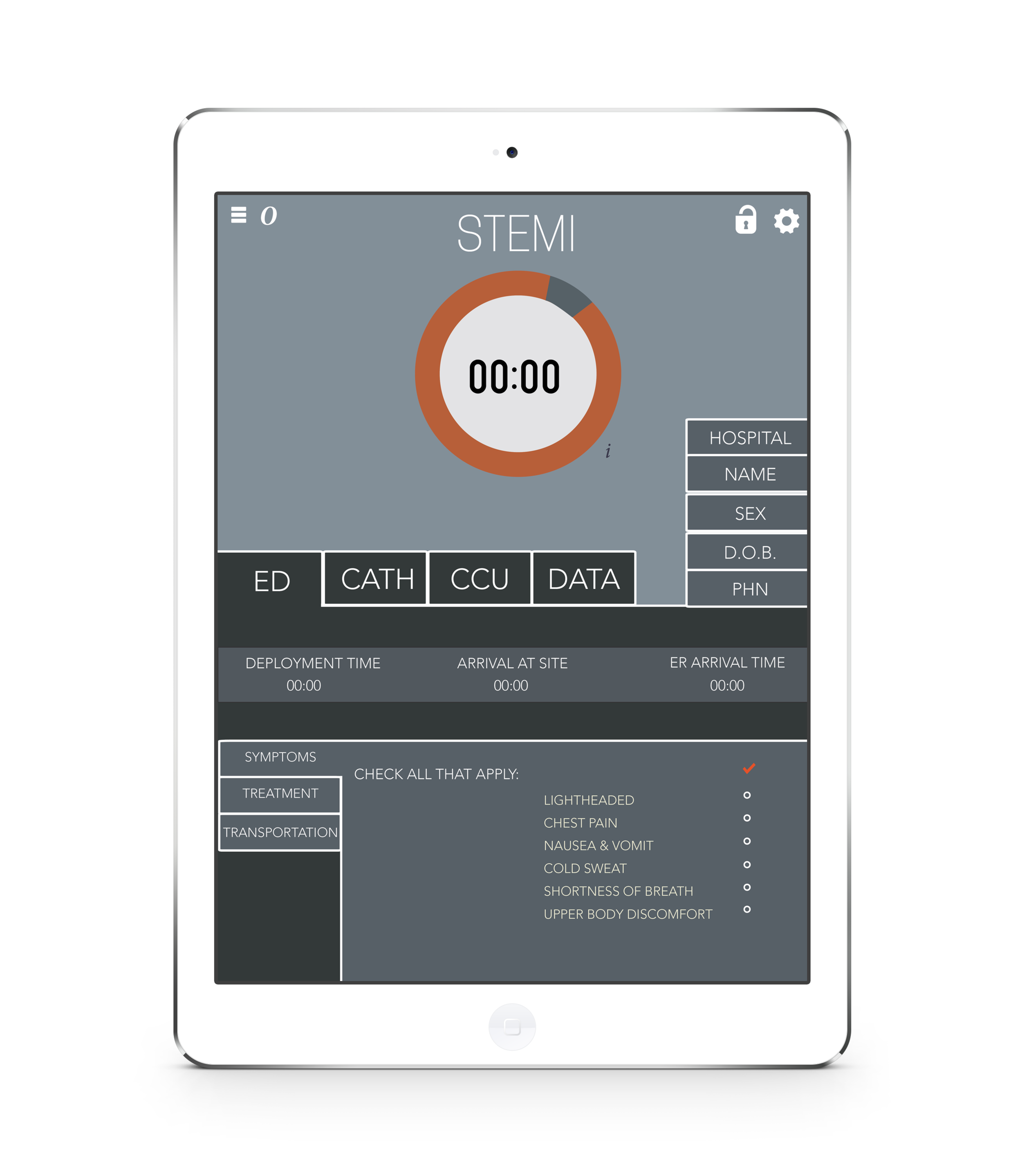 - The STEMI App is designed to work alongside the patient as he or she is treated for STEMI. The STEMI App is accessed by the Emergency Department where they can document the patient's symptoms and time elapsed between transportation and treatment.