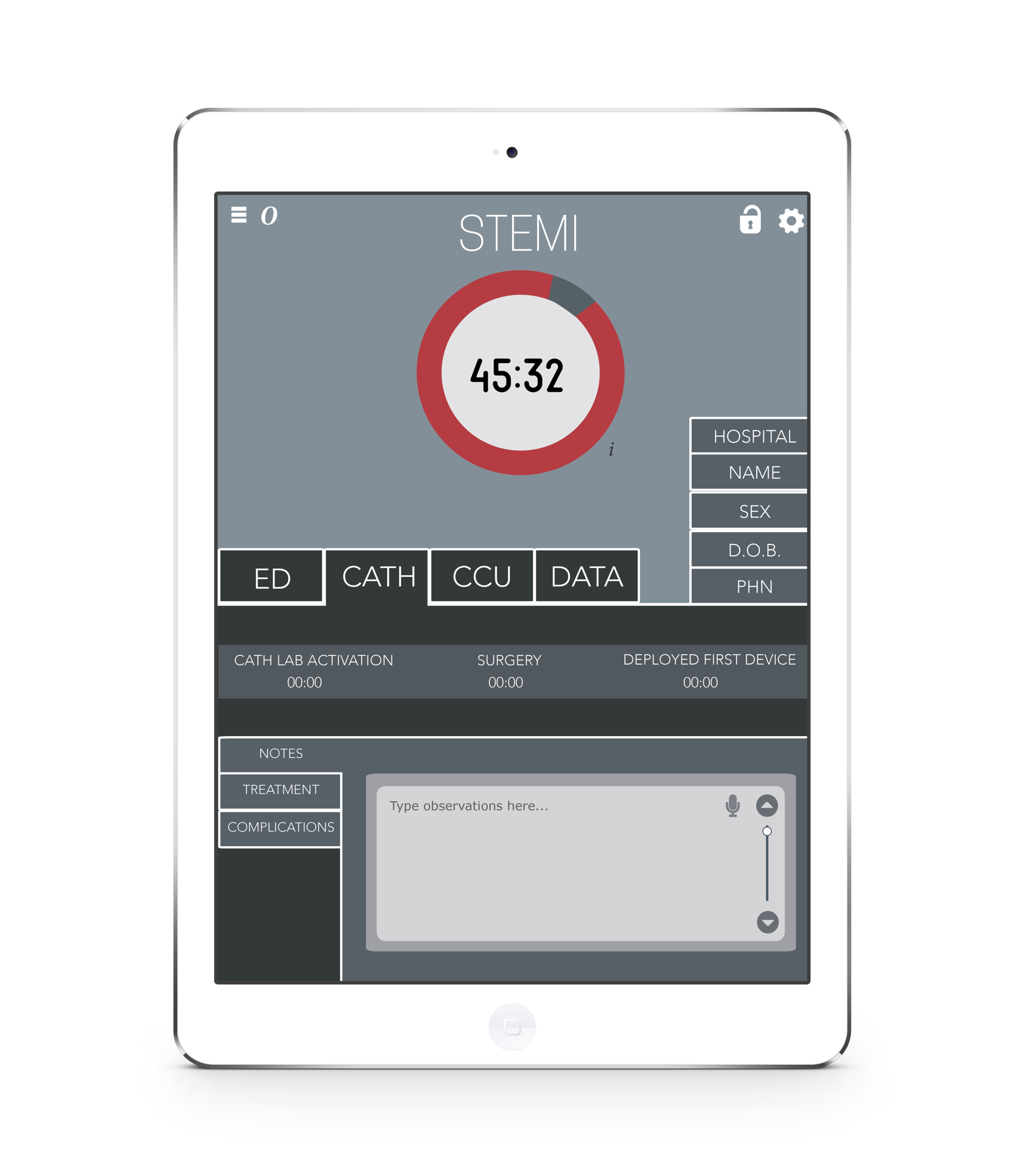 - Once the patient has been taken to a Cardiac Hospital, the patient is taken in the Cath Lab. Once the patient is admitted into the Cath Lab, the STEMI app then transitions into the Cath tab where the time of the Cath Lab Activation, Surgery and Deployment of First Device are recorded. The Medical Practitoners can voice record notes, treatment and complications.