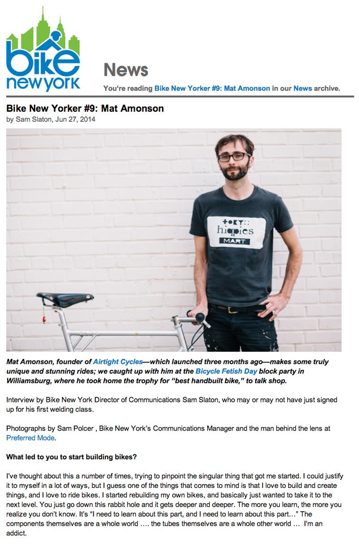 Bike NY Article