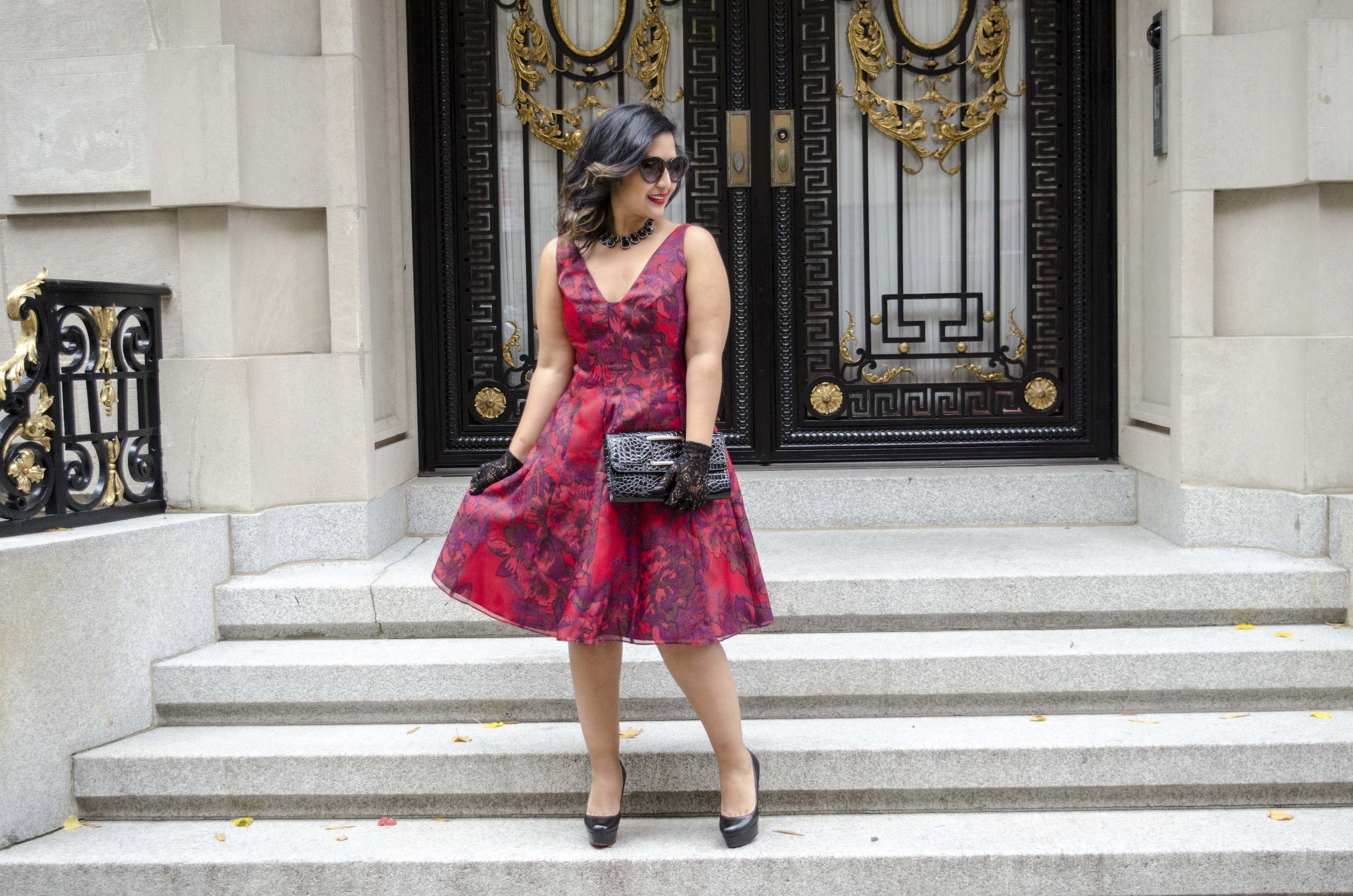 Red Printed Aidan Mattox Holiday Dress1.jpg
