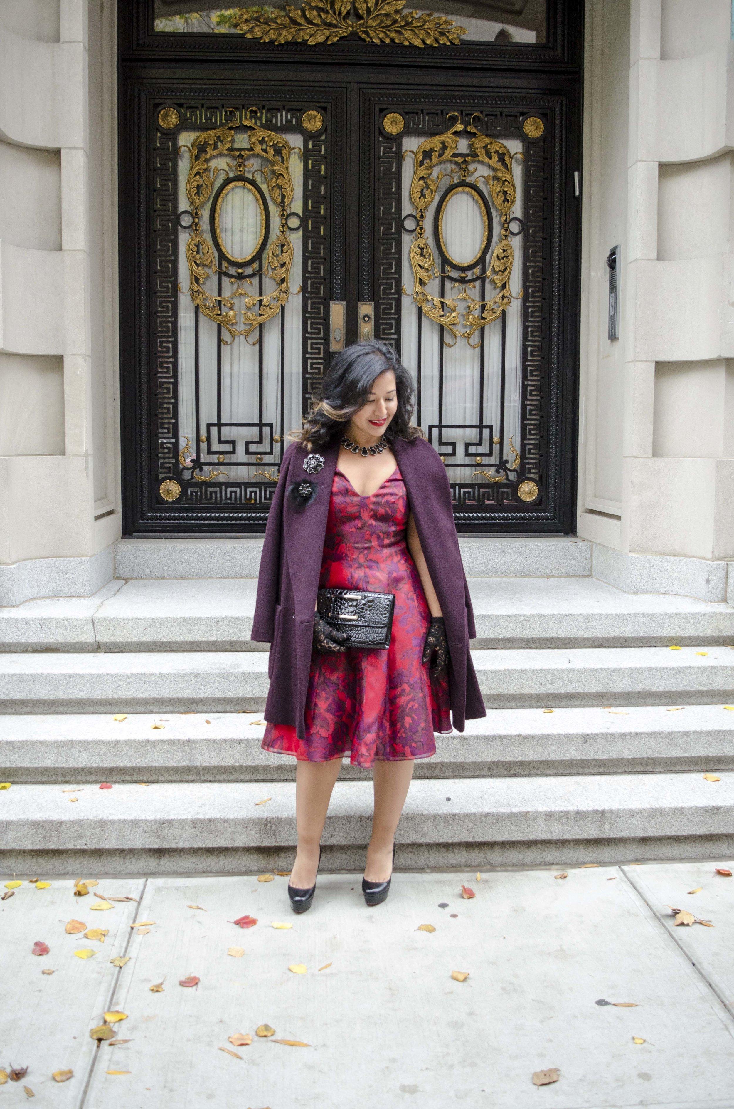 Red Printed Aidan Mattox Holiday Dress