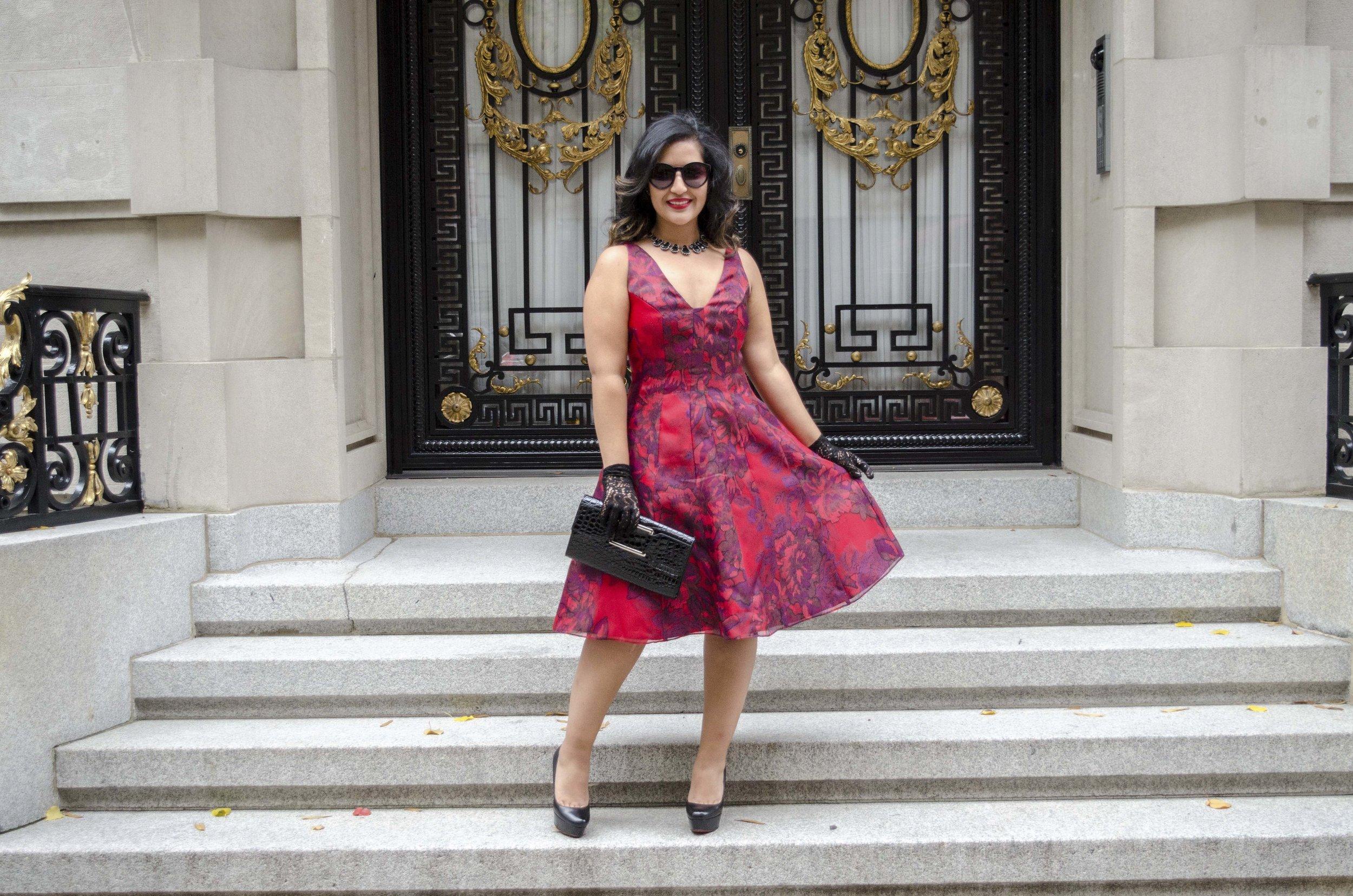 Red Printed Aidan Mattox Holiday Dress2.jpg