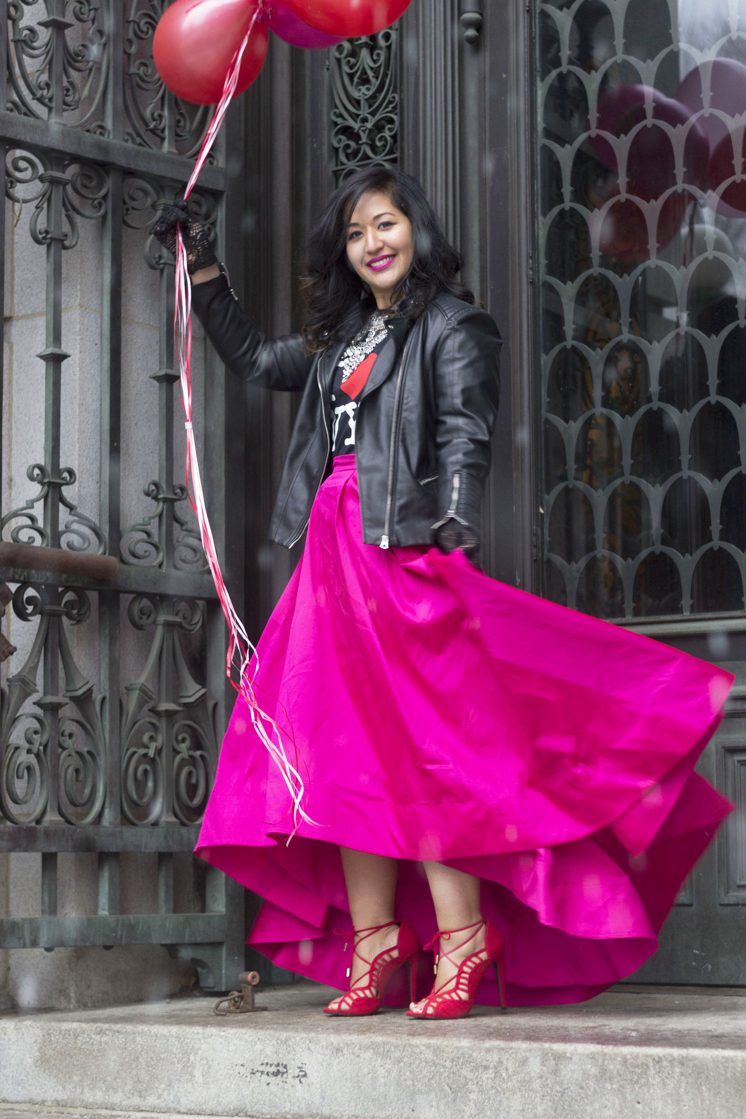 Krity S x Aidan Pink Skirt Valentines Day Look