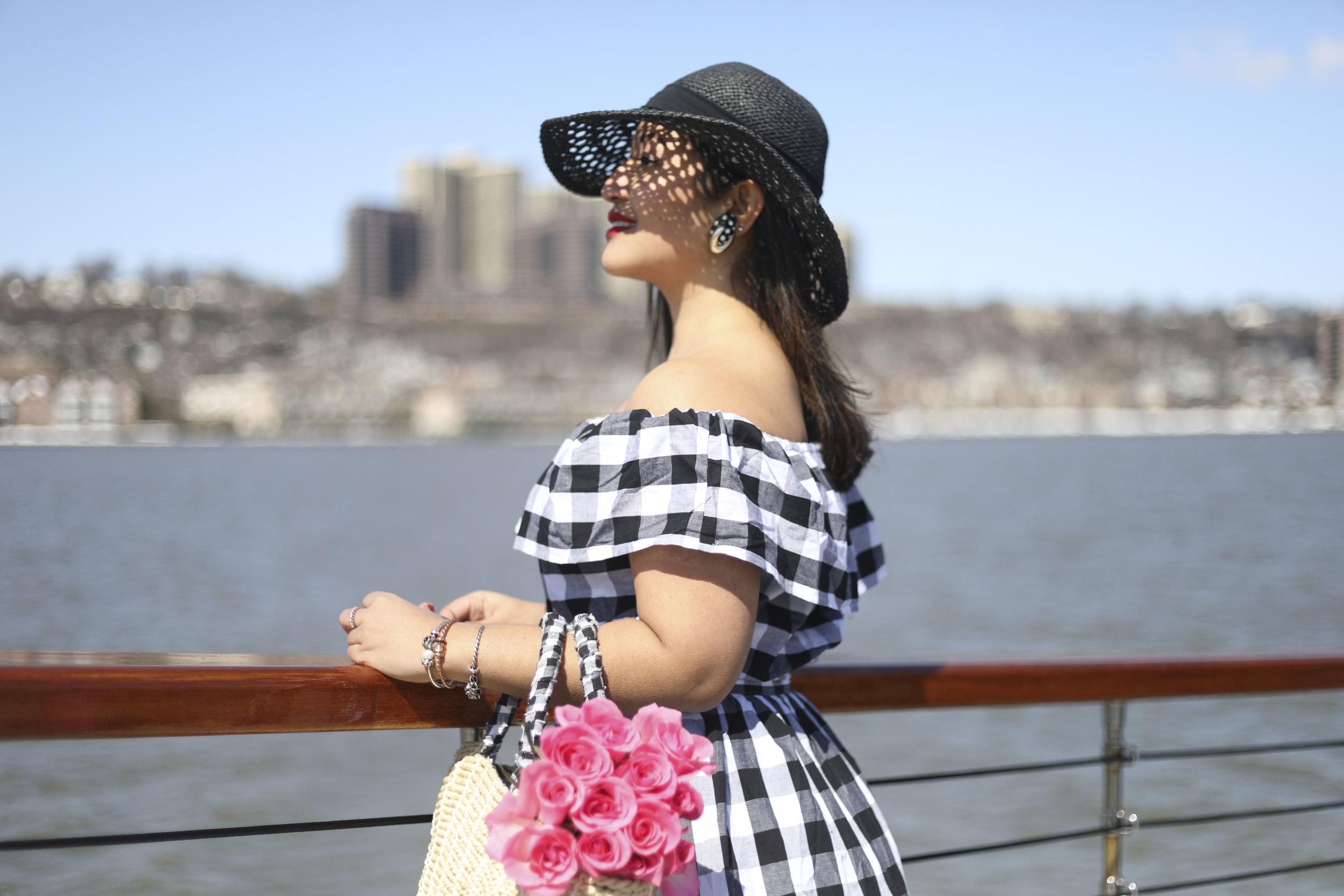 Off the Shoulder Spring Dress x Gingham Print x Make Me Chic x NYC Cruise x Troll Beads