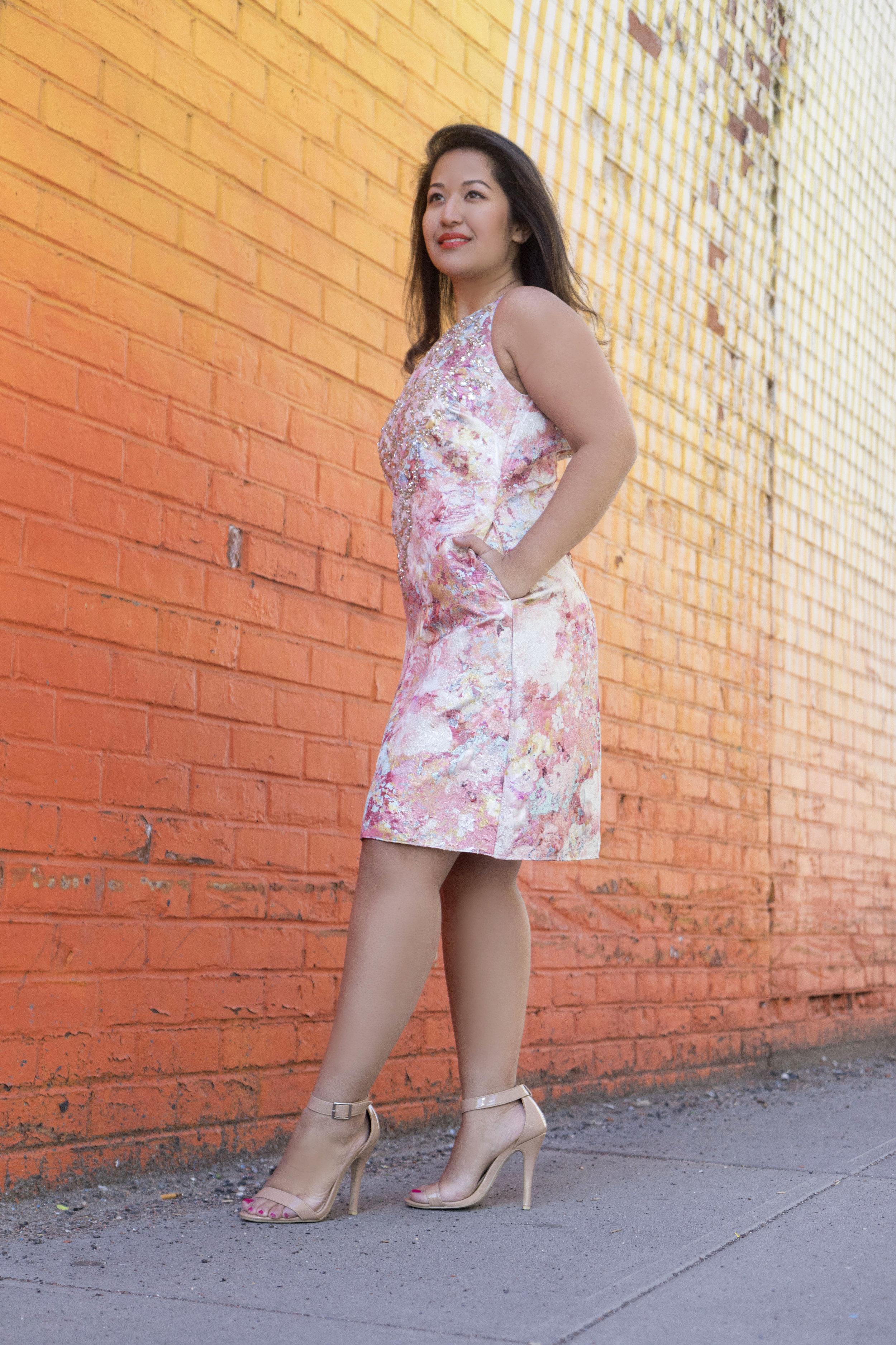 Krity S x Aidan Mattox Beaded Brocade Short Dress