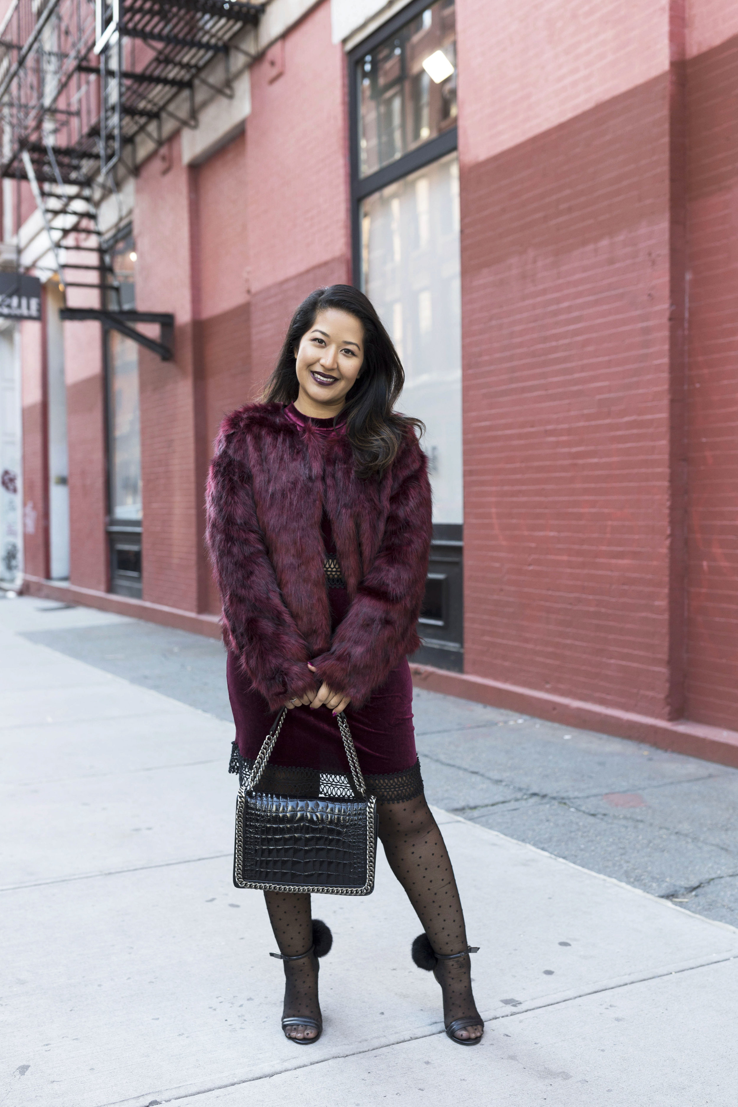 Krity S x Holiday Outfit x Century 21 Burgundy Velvet Dress and Faux Fur1.jpg