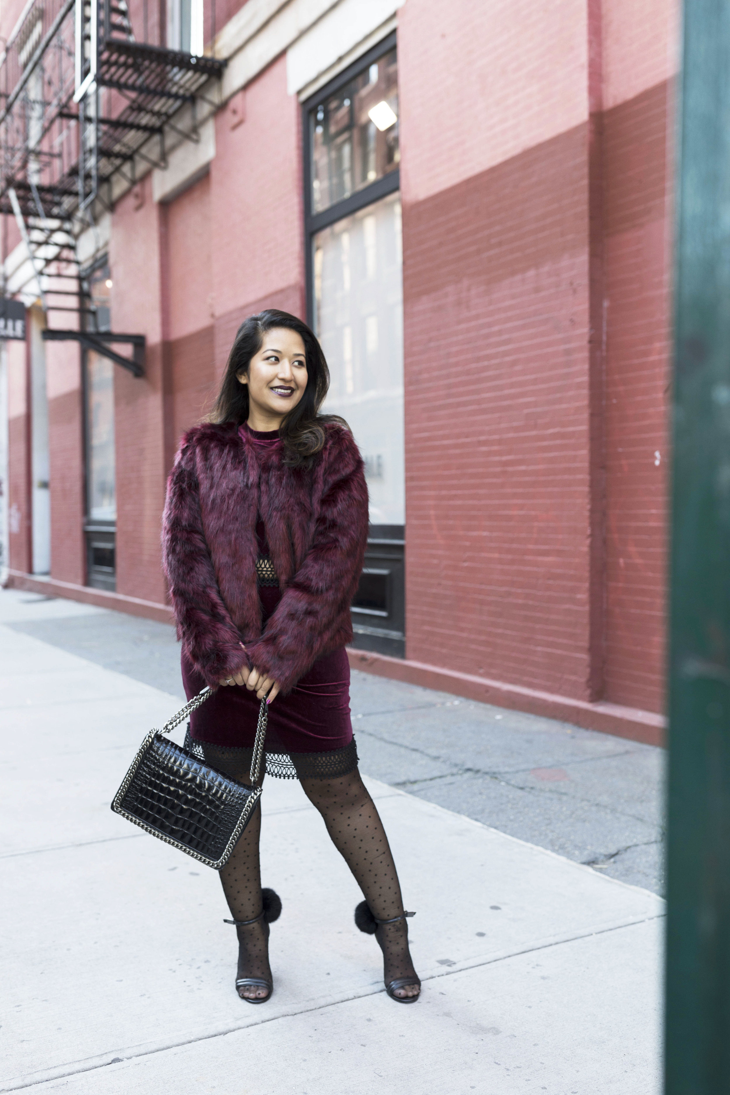 Krity S x Holiday Outfit x Century 21 Burgundy Velvet Dress and Faux Fur2.jpg