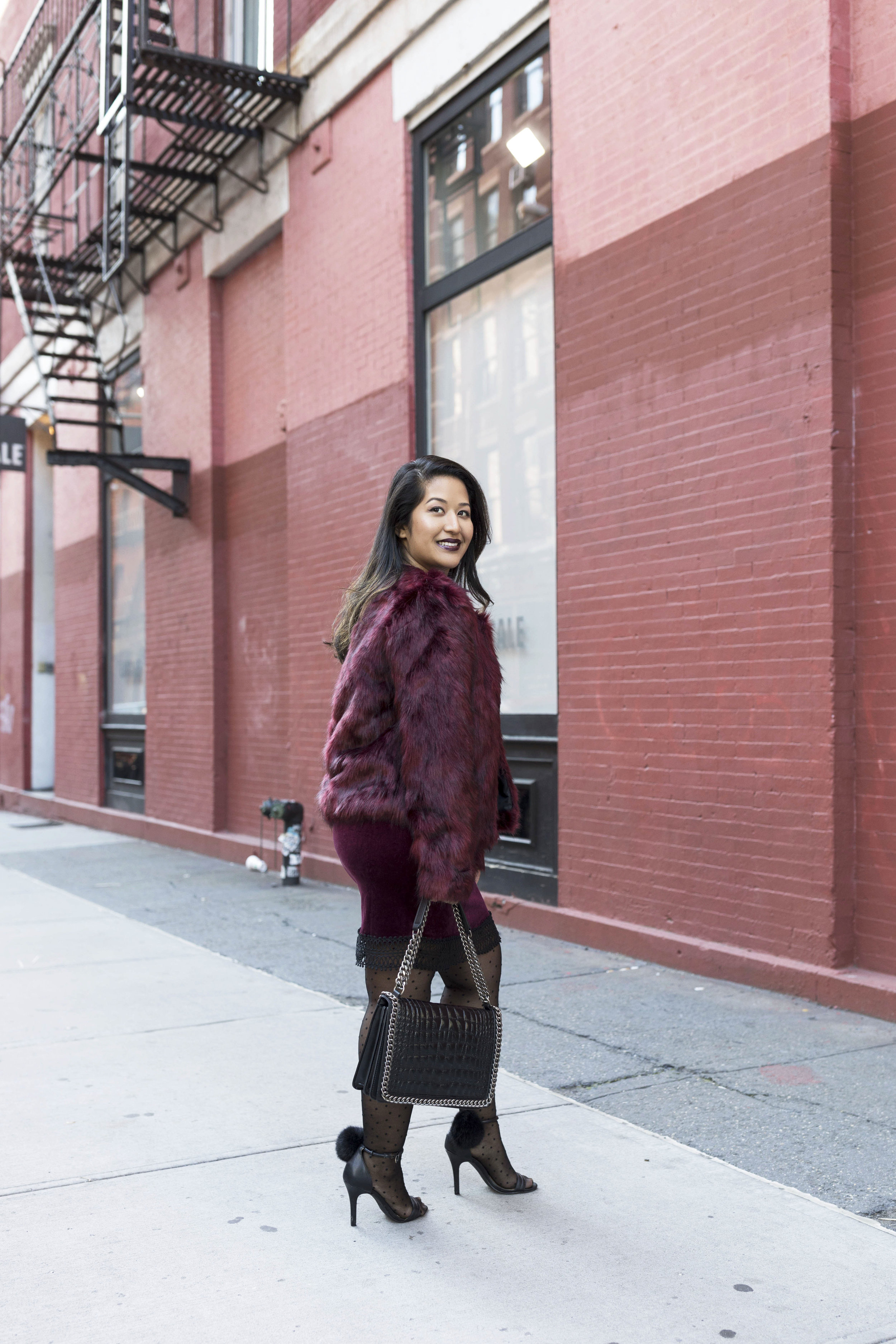 Krity S x Holiday Outfit x Century 21 Burgundy Velvet Dress and Faux Fur4.jpg