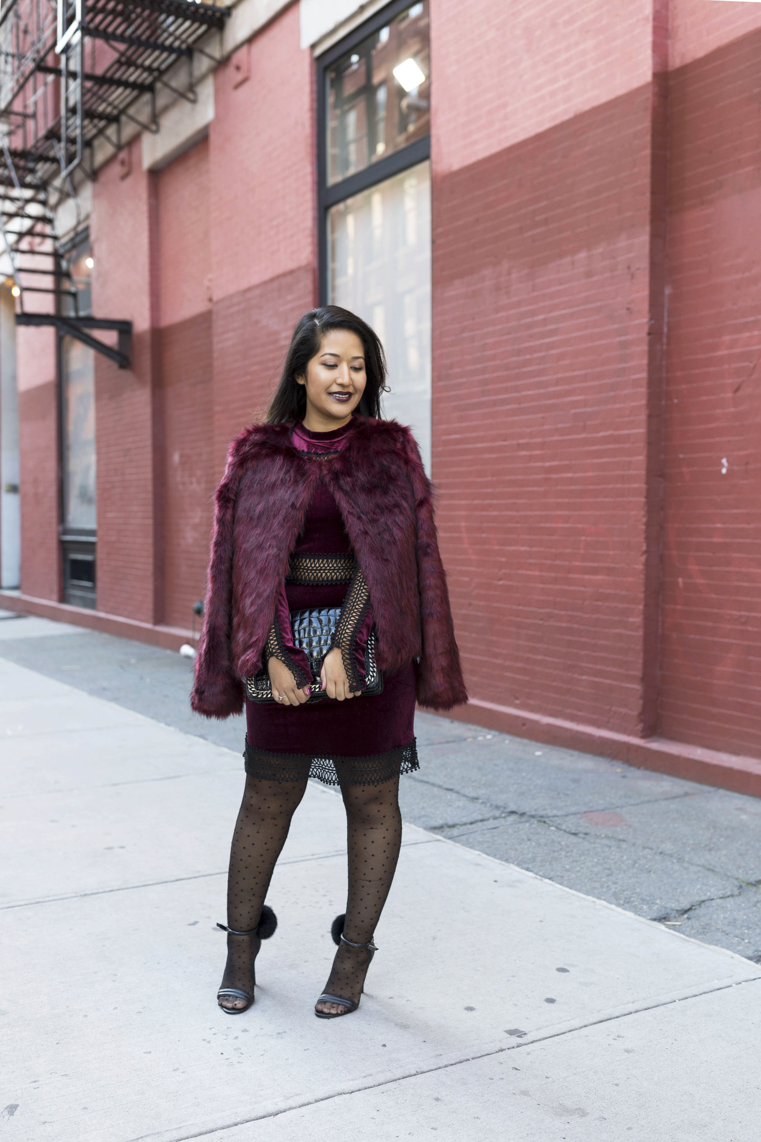 Krity S x Holiday Outfit x Century 21 Burgundy Velvet Dress and Faux Fur7.jpg