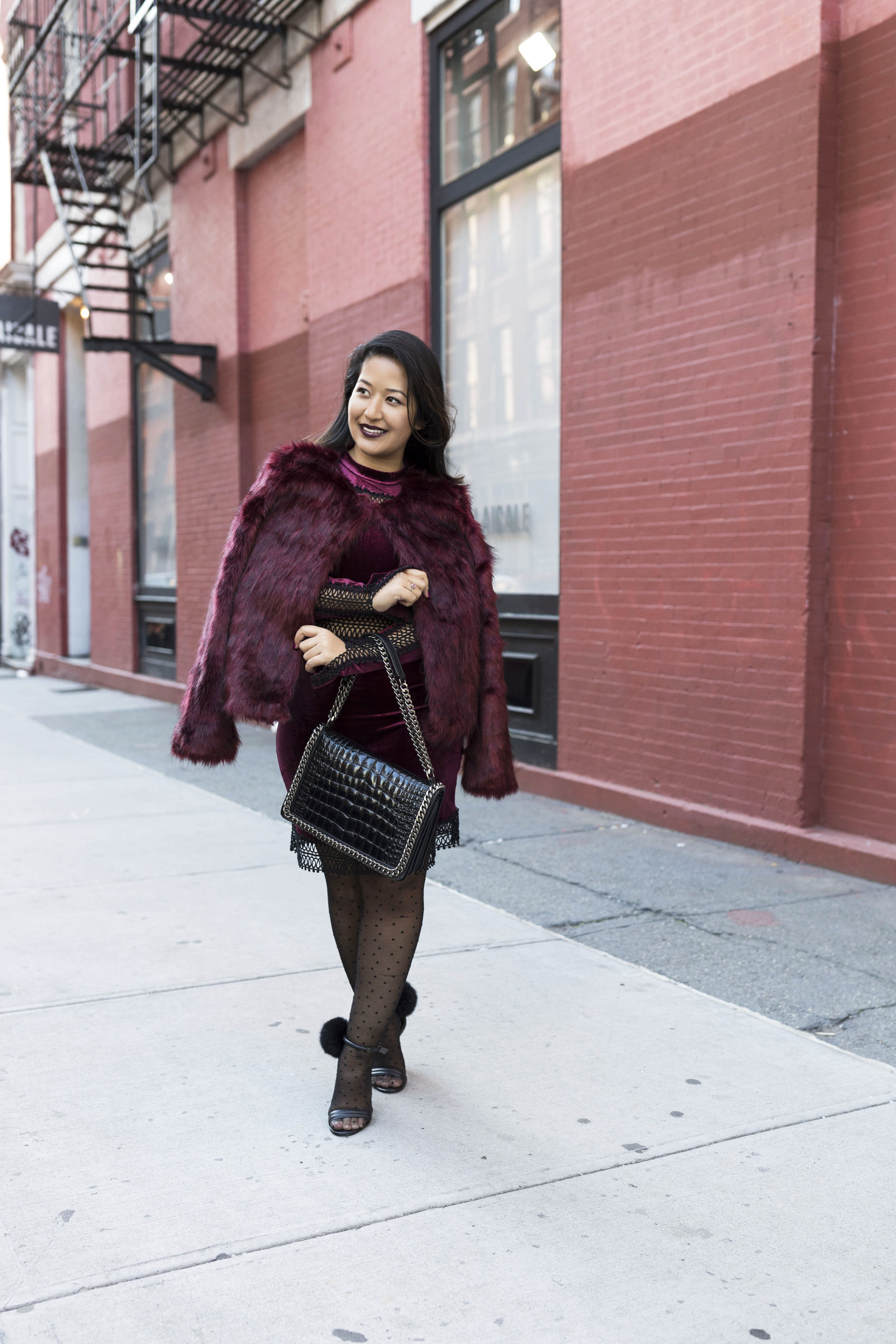 Krity S x Holiday Outfit x Century 21 Burgundy Velvet Dress and Faux Fur6.jpg