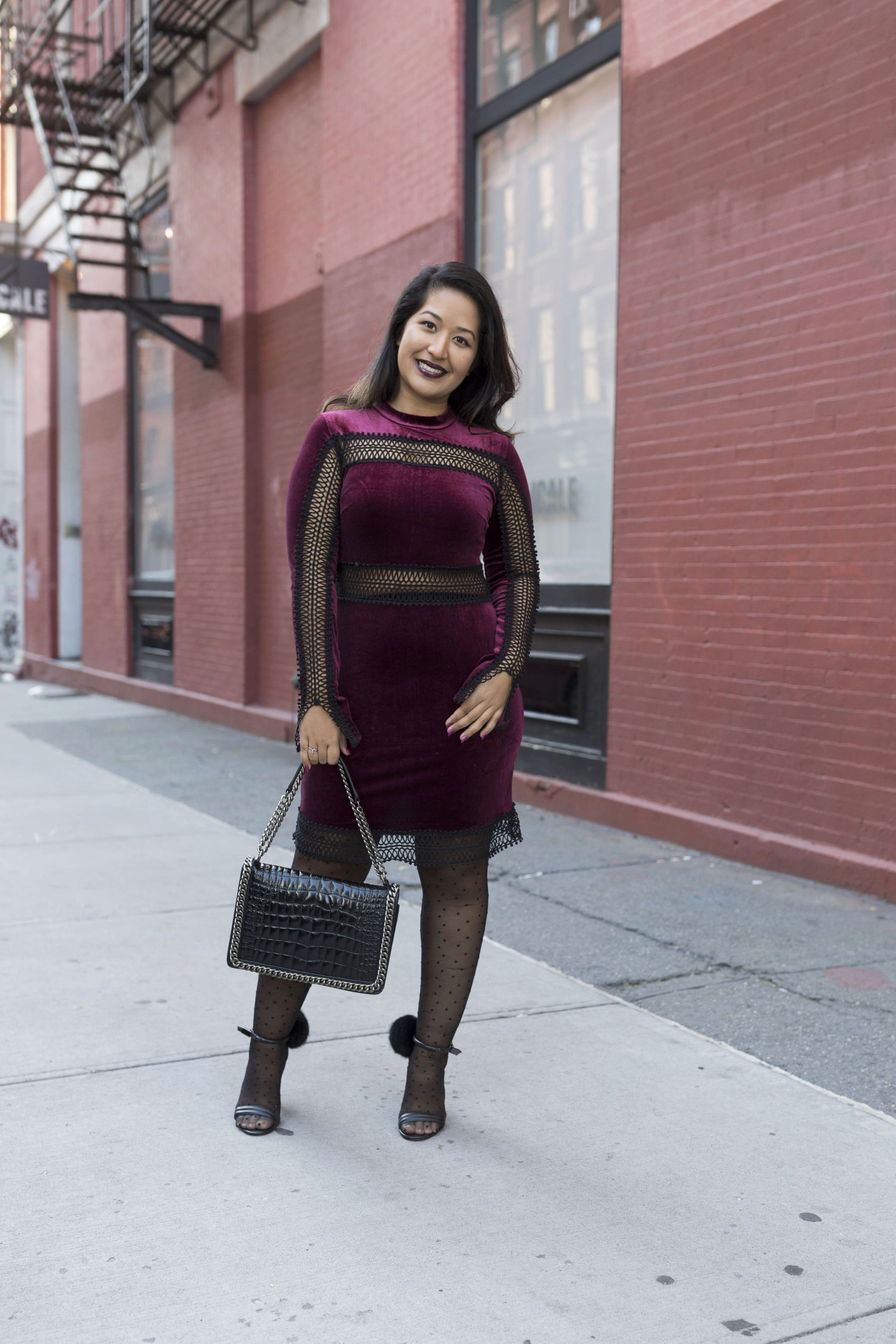 Krity S x Holiday Outfit x Century 21 Burgundy Velvet Dress and Faux Fur9.jpg