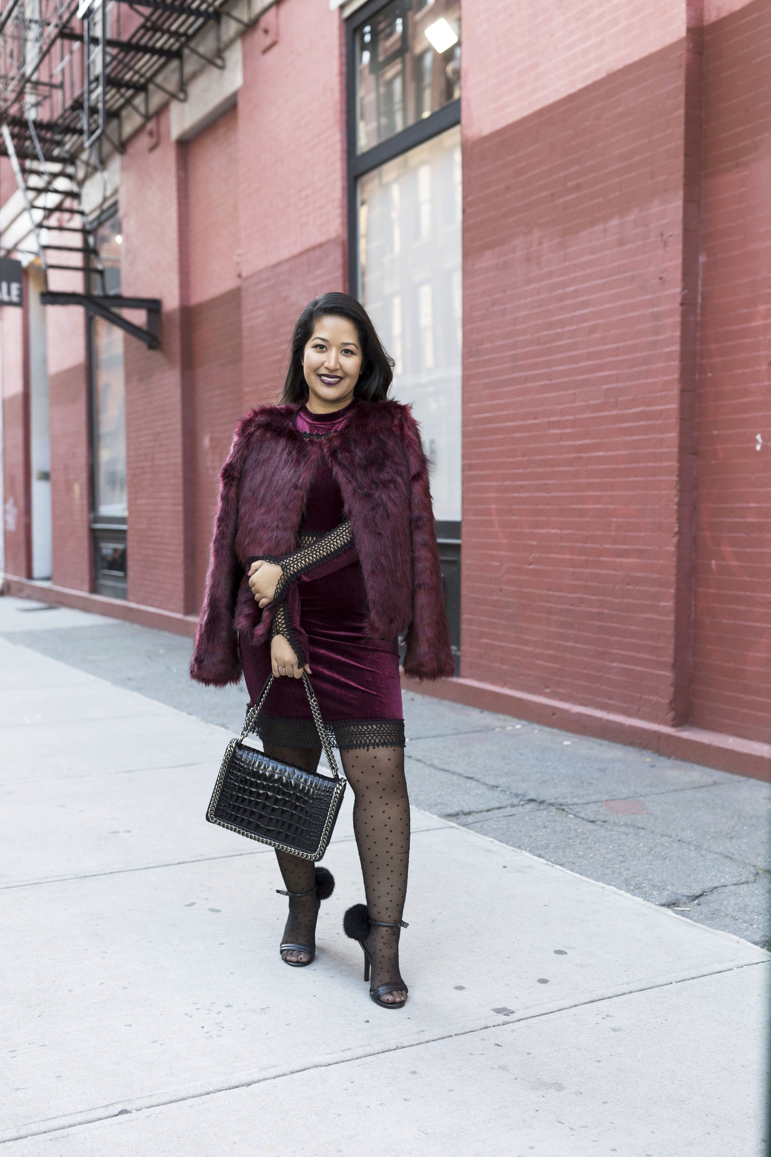 Krity S x Holiday Outfit x Century 21 Burgundy Velvet Dress and Faux Fur5.jpg