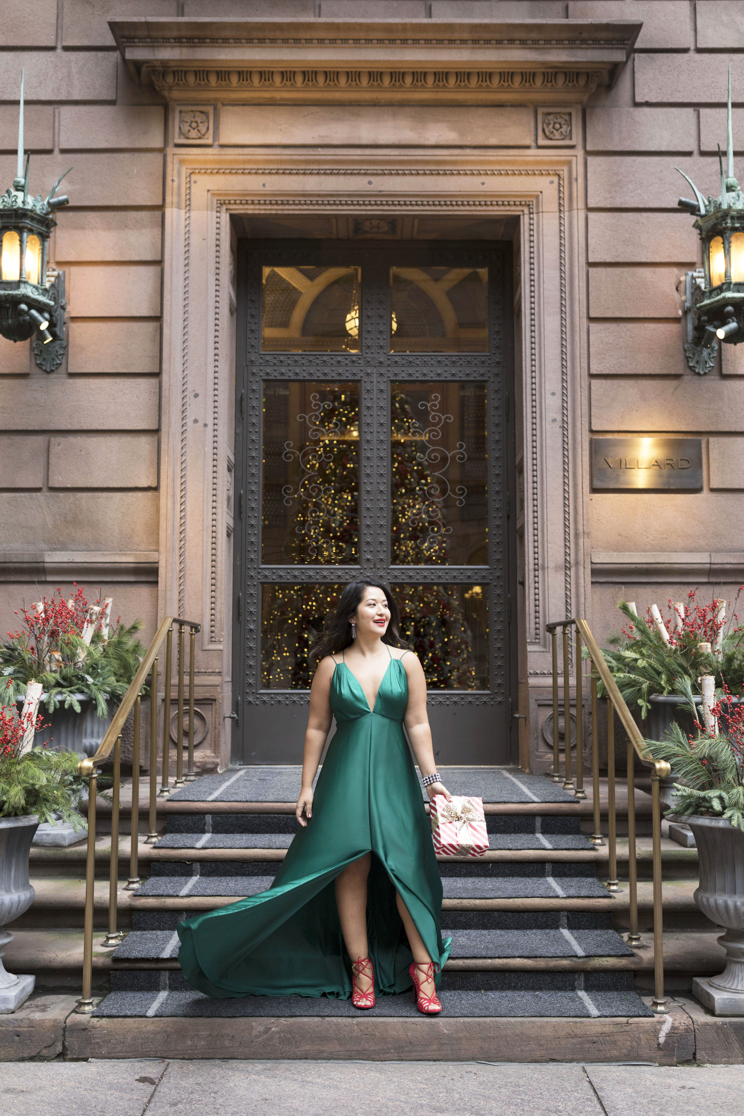 Krity S x Holiday Outfit x Forest Silk Aidan Mattox Gown 1.jpg