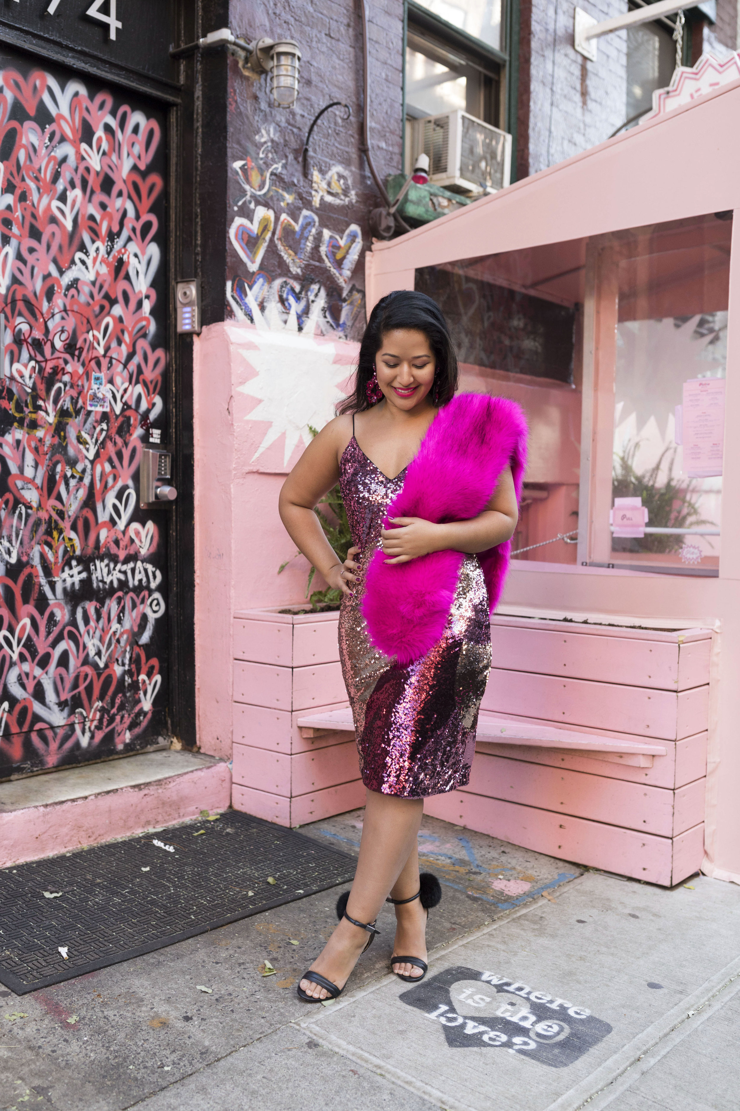 Krity S x New Years Eve Outfit x Aidan Mattox Color Block Pink Sequin Short Dress with Forever 21 Faux Fur Scarf 2.jpg
