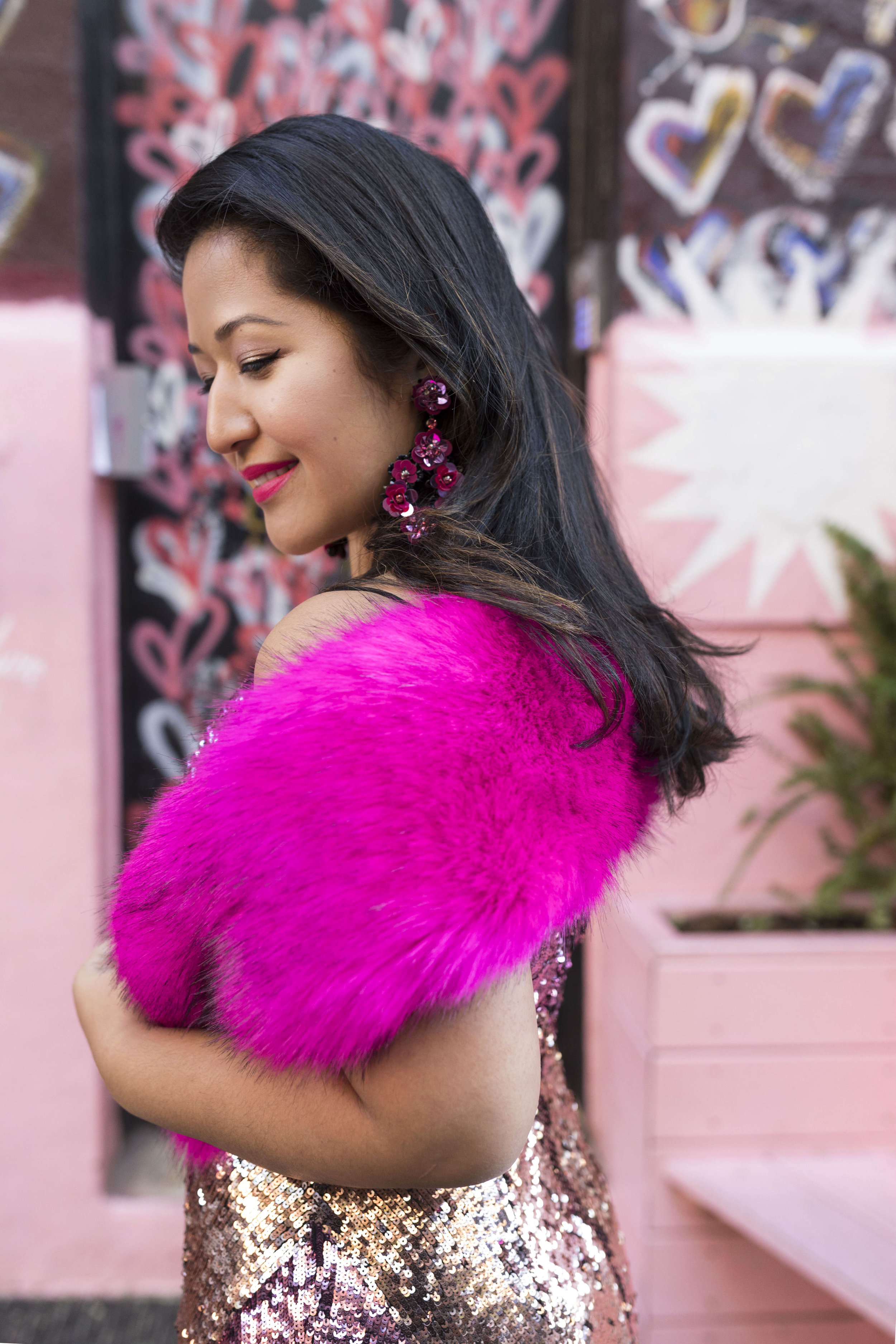 Krity S x New Years Eve Outfit x Aidan Mattox Color Block Pink Sequin Short Dress with Forever 21 Faux Fur Scarf 7.jpg