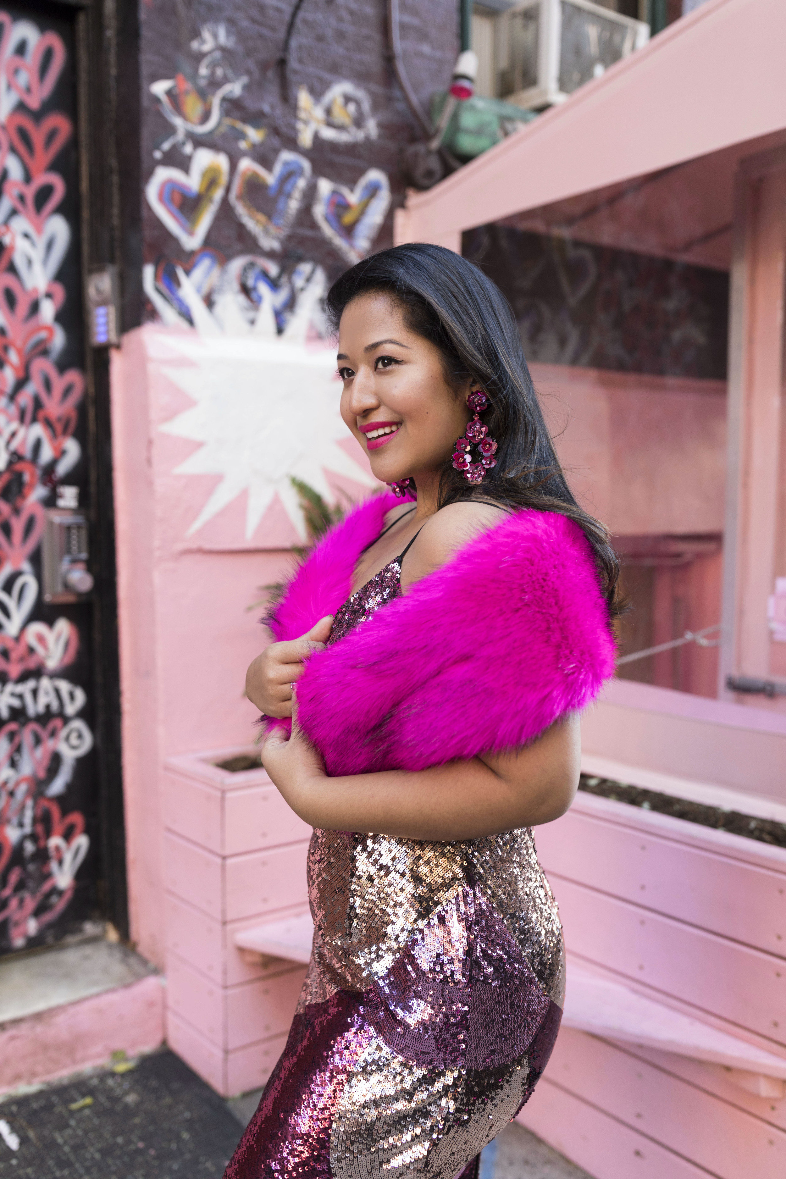 Krity S x New Years Eve Outfit x Aidan Mattox Color Block Pink Sequin Short Dress with Forever 21 Faux Fur Scarf 8.jpg
