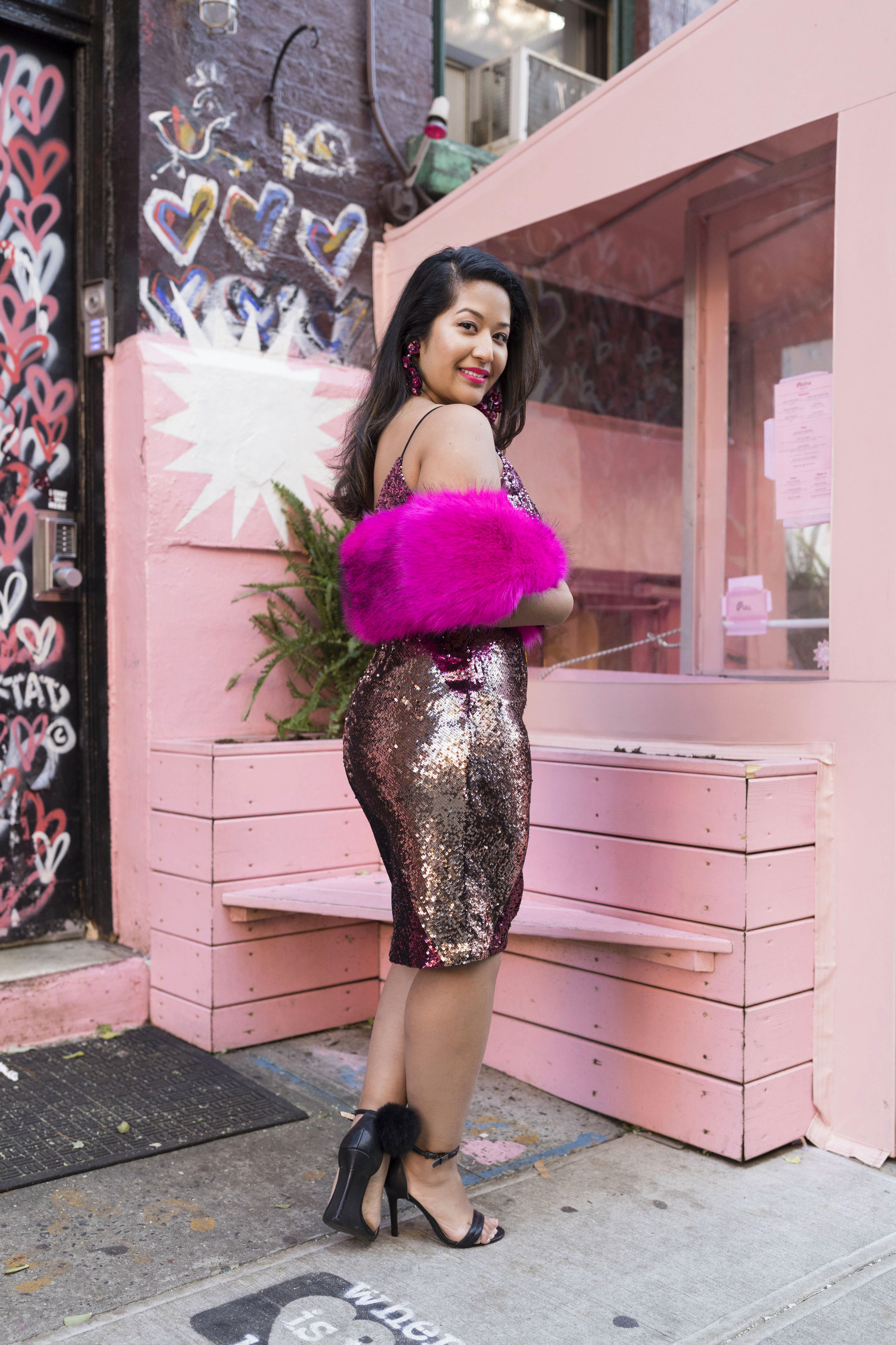Krity S x New Years Eve Outfit x Aidan Mattox Color Block Pink Sequin Short Dress with Forever 21 Faux Fur Scarf 10.jpg