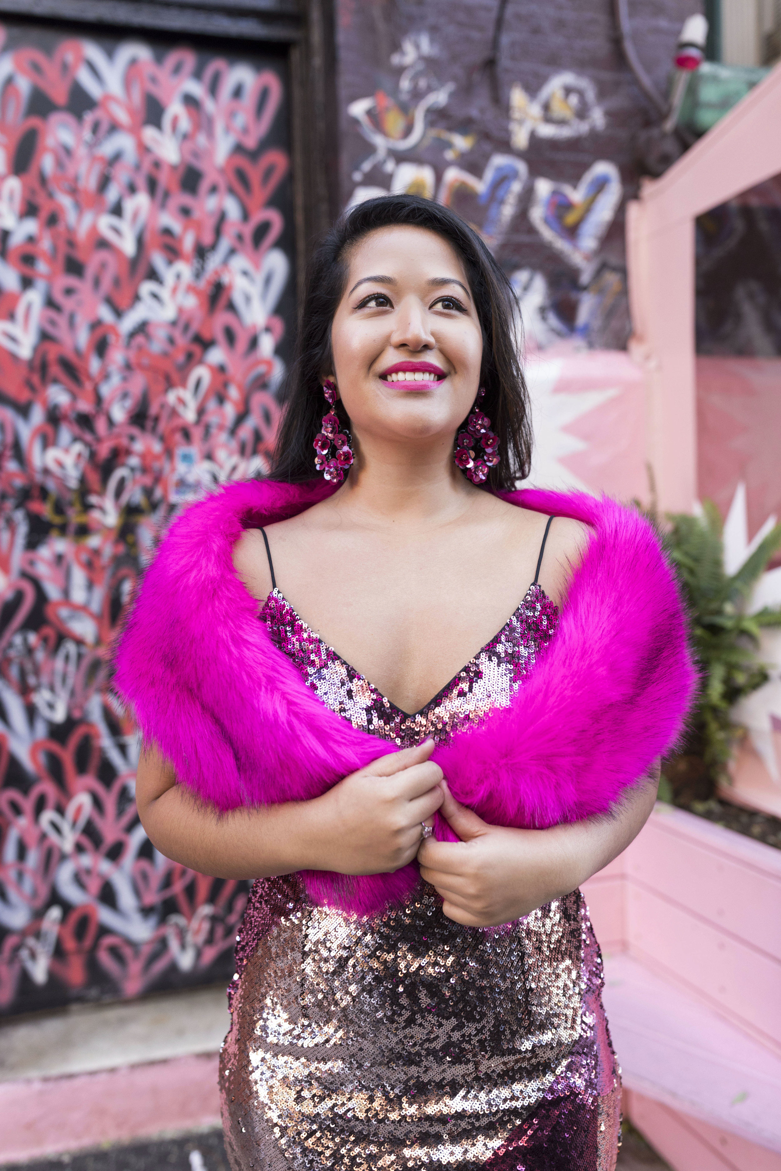 Krity S x New Years Eve Outfit x Aidan Mattox Color Block Pink Sequin Short Dress with Forever 21 Faux Fur Scarf 11.jpg