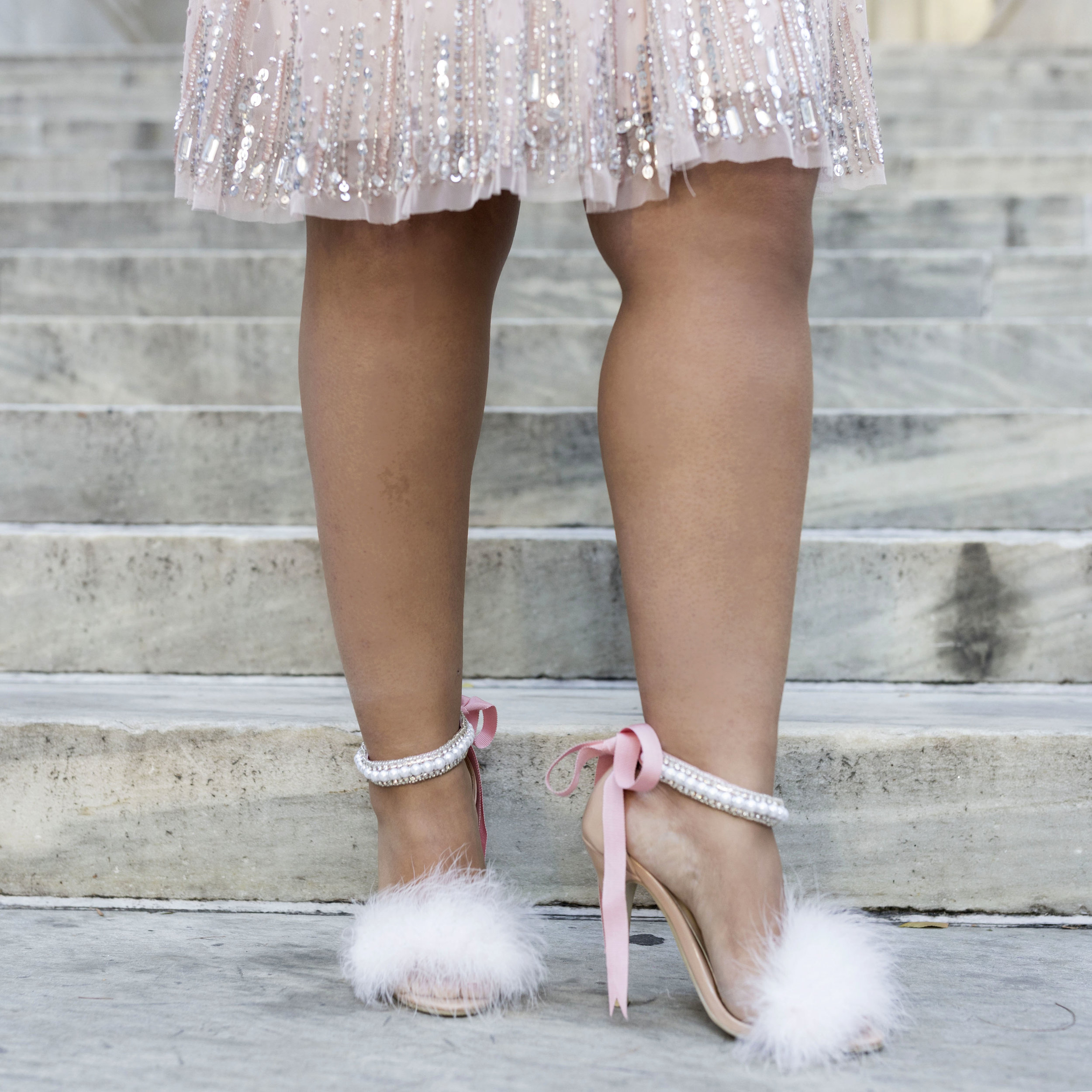 Krity S x Valentine's Day x Aidan Mattox Beaded Short Dress x H&M Faux Fur14.jpg