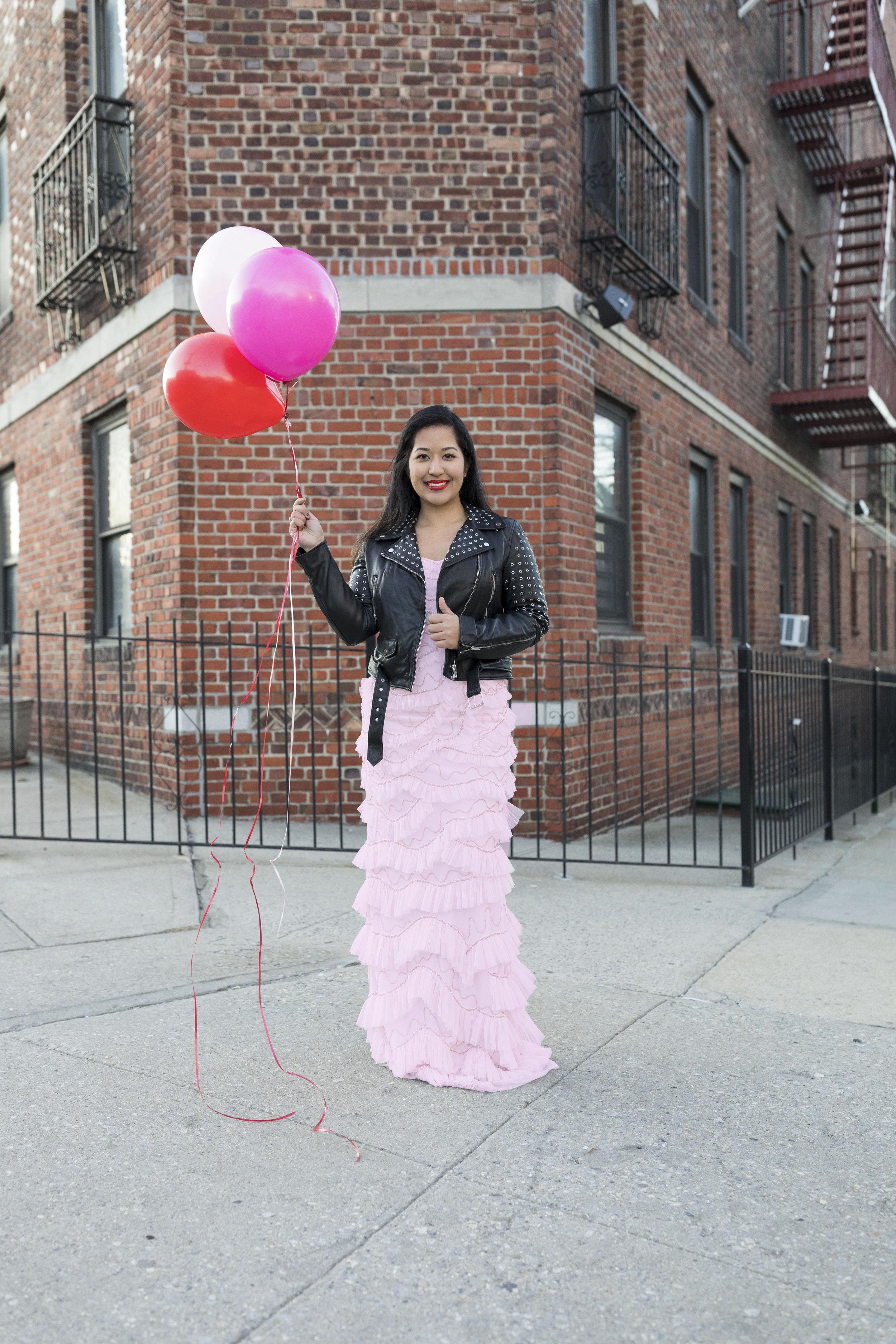 Krity S x Pink Ruffle Aidan Mattox Dress x Valentine's Day1.jpg