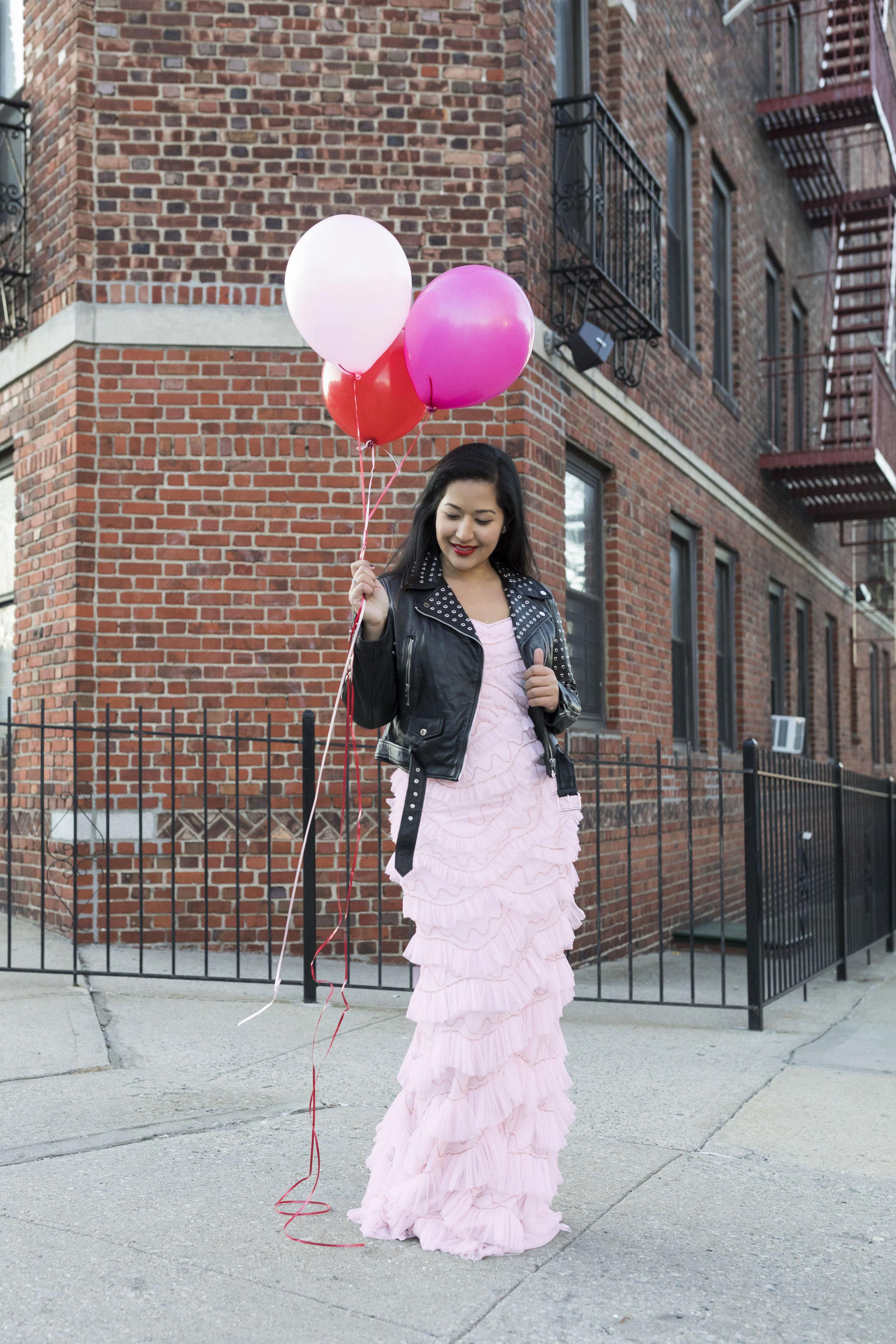 Krity S x Pink Ruffle Aidan Mattox Dress x Valentine's Day4.jpg