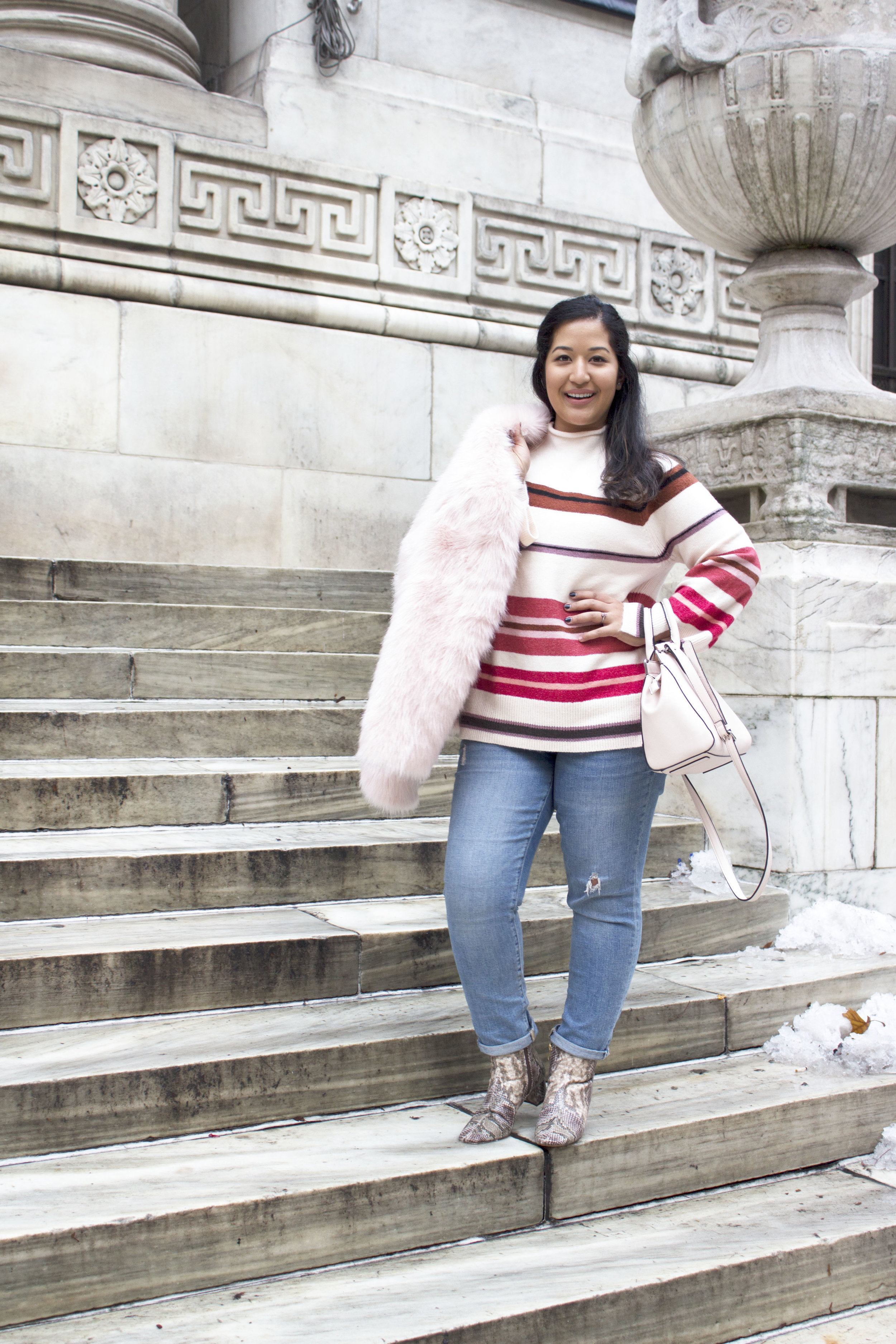 Krity S x Loft Stripe Sweater x Pink Faux Fur x Winter Outfit4.jpg
